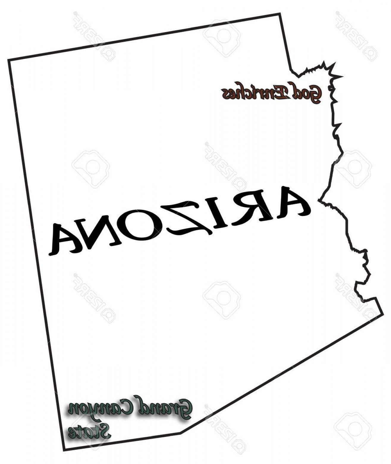 Arizona State Outline Vector: Photostock Vector An Arizona State Outline With Motto And Slogan Isolated On A White Background