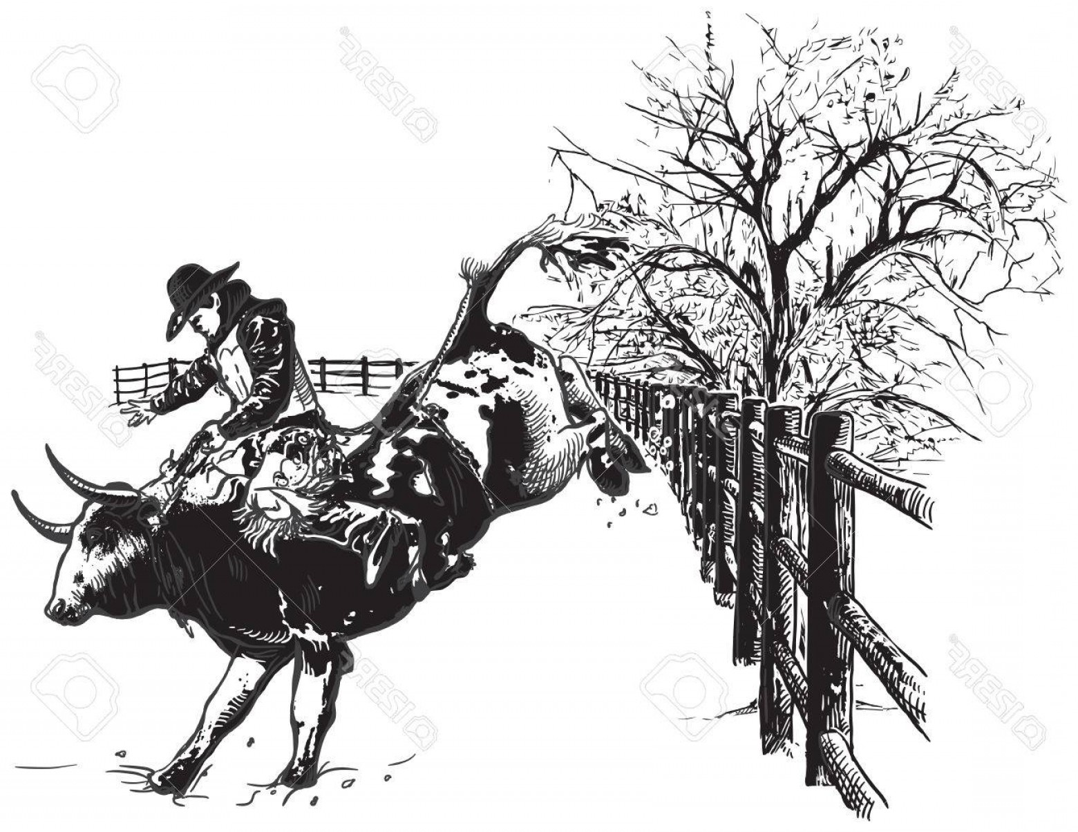 Black Horse Vector Scene: Photostock Vector An Hand Drawn Freehand Vector Rodeo Scene From The American Culture