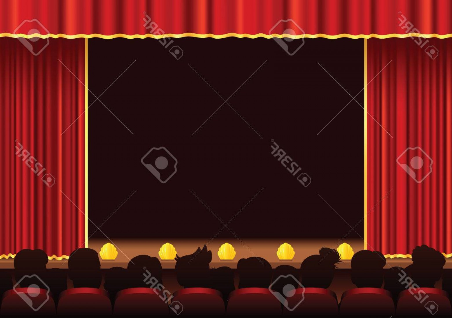 Vector Stage Audience: Photostock Vector An Illustration Of A Stage Area And Audience Plenty Of Room For Your Own Performance