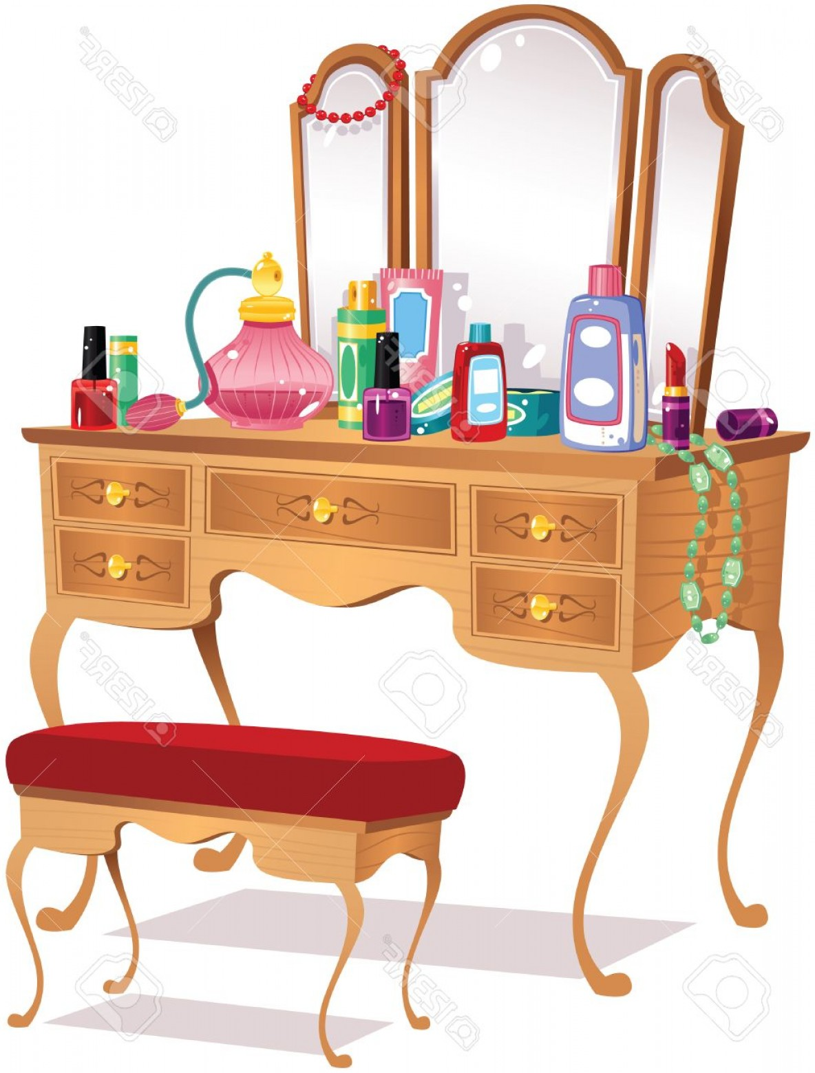Vector Makeup Vanity Table: Photostock Vector An Illustration Of An Old Fashioned Wooden Vanity Dressing Table