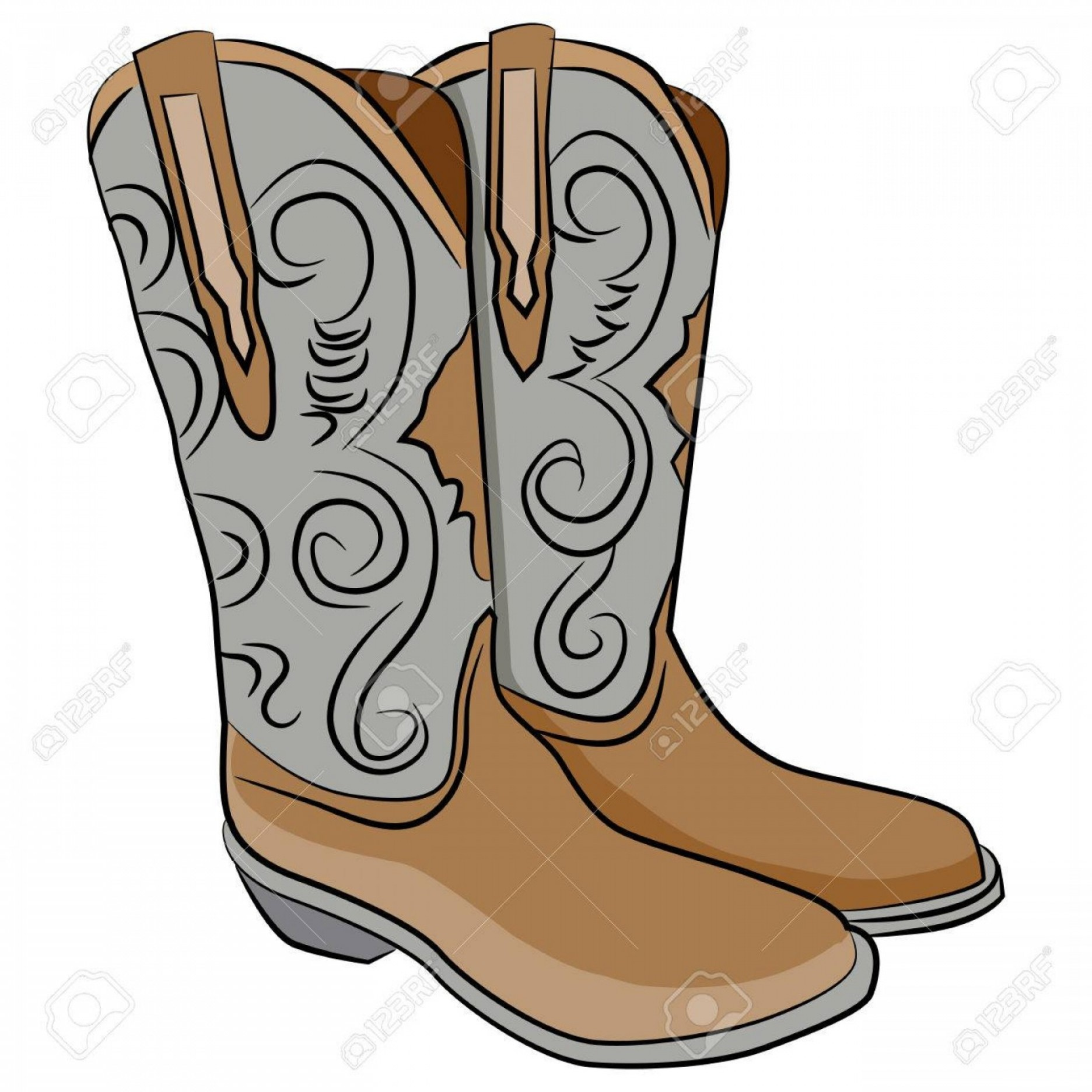 Two Cowgirl Boots Vector: Photostock Vector An Image Of A Pair Of Cowboy Boots