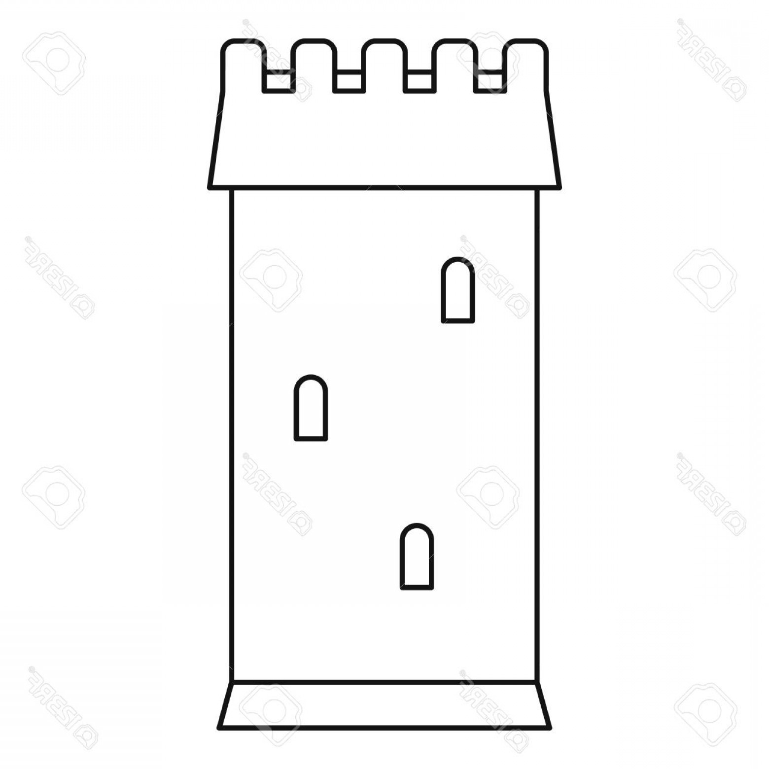 Vector Ancient Battle: Photostock Vector Ancient Battle Tower Icon Outline Style