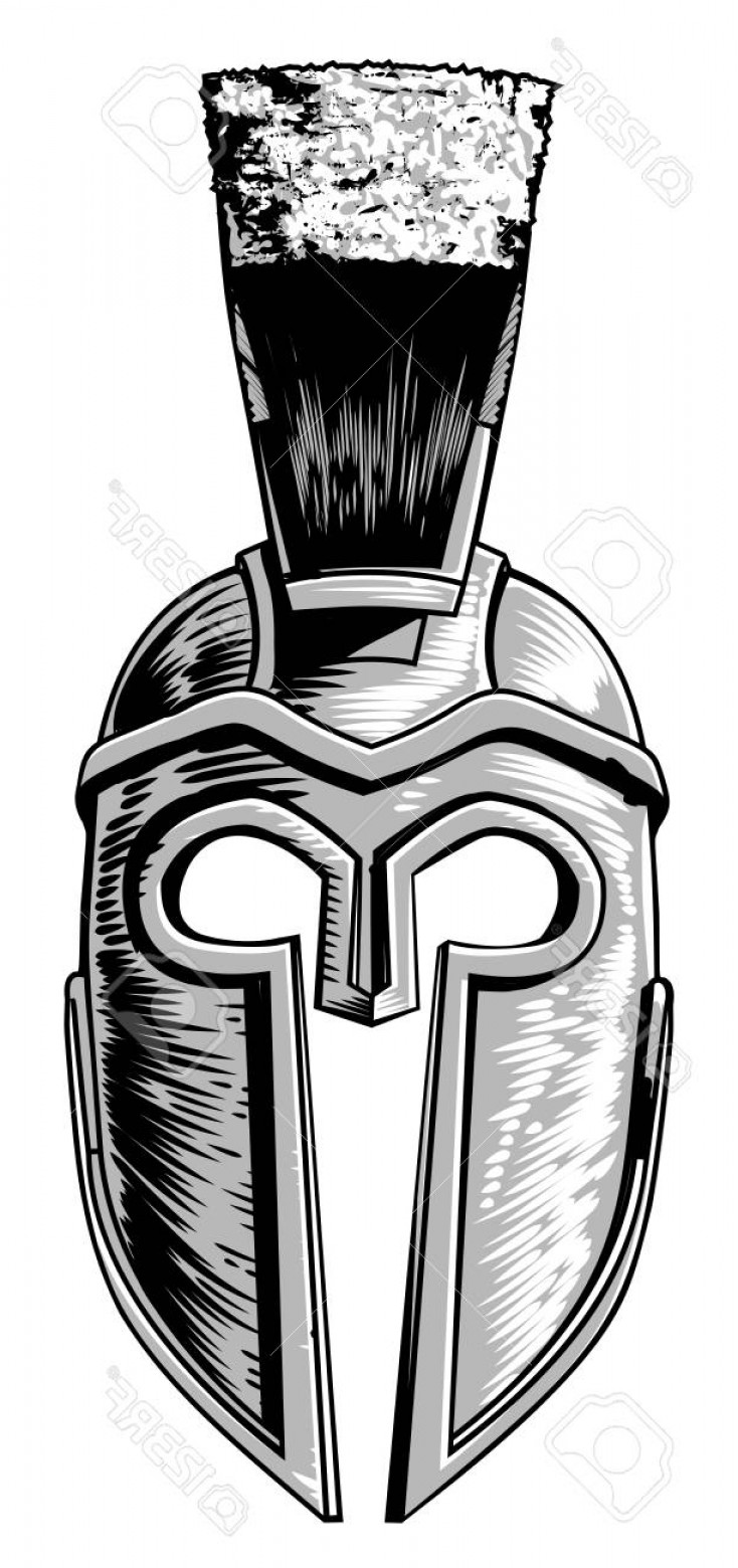 Boba Fett Vector Black And White: Photostock Vector Ancient Greek Spartan Trojan Gladiator Helmet