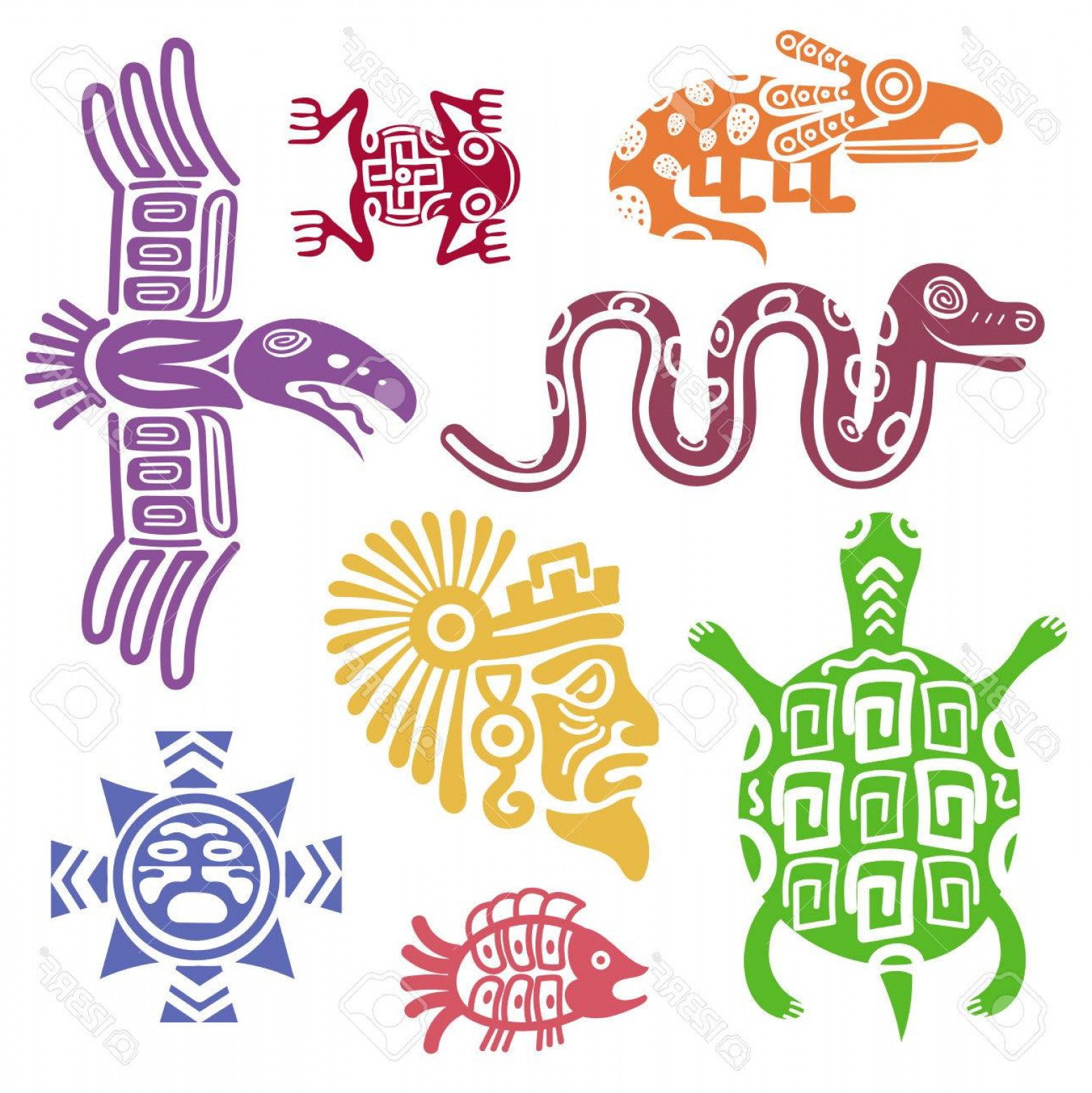 Mayan Vector: Photostock Vector Ancient Mexican Symbols Vector Illustration Mayan Culture Indian Symbols With Totem Patterns Animal