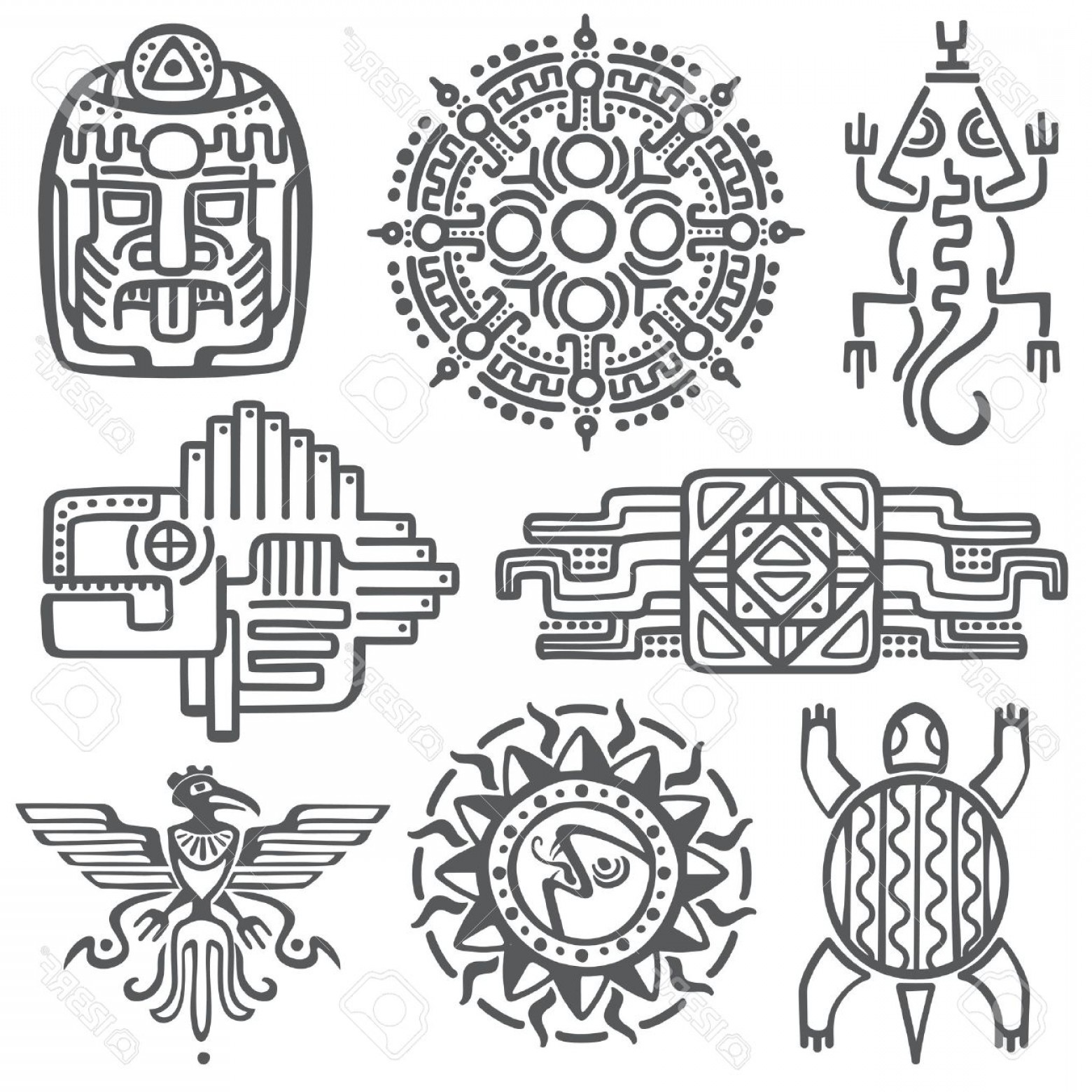 Mayan Vector: Photostock Vector Ancient Mexican Vector Mythology Symbols American Aztec Mayan Culture Native Totem Patterns Aztec An