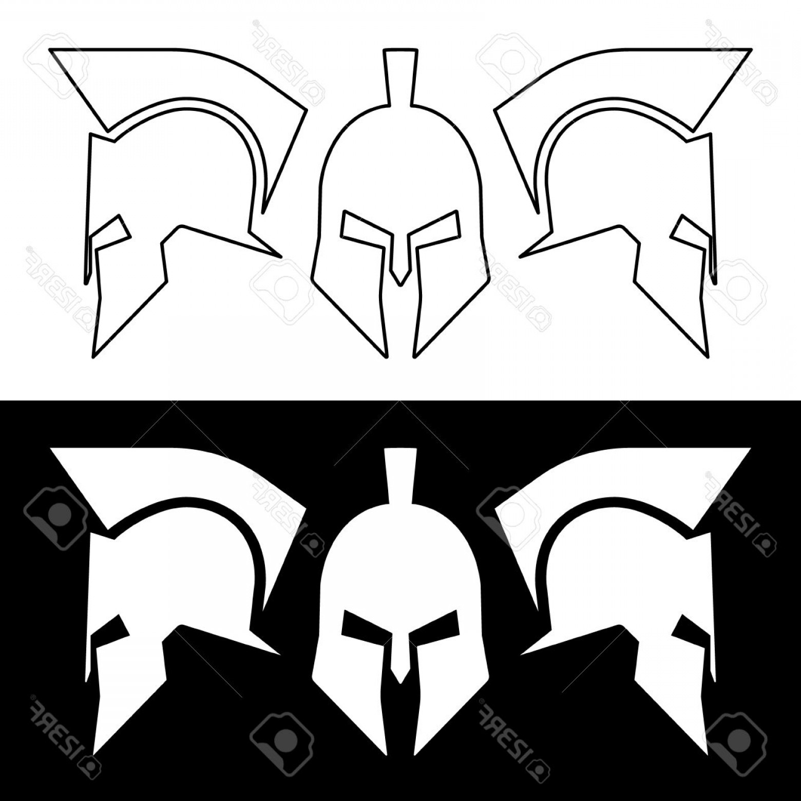 Boba Fett Vector Black And White: Photostock Vector Ancient Roman Or Greek Helmet Helmets Front And Side View Silhouette Line Design Vector Illustration