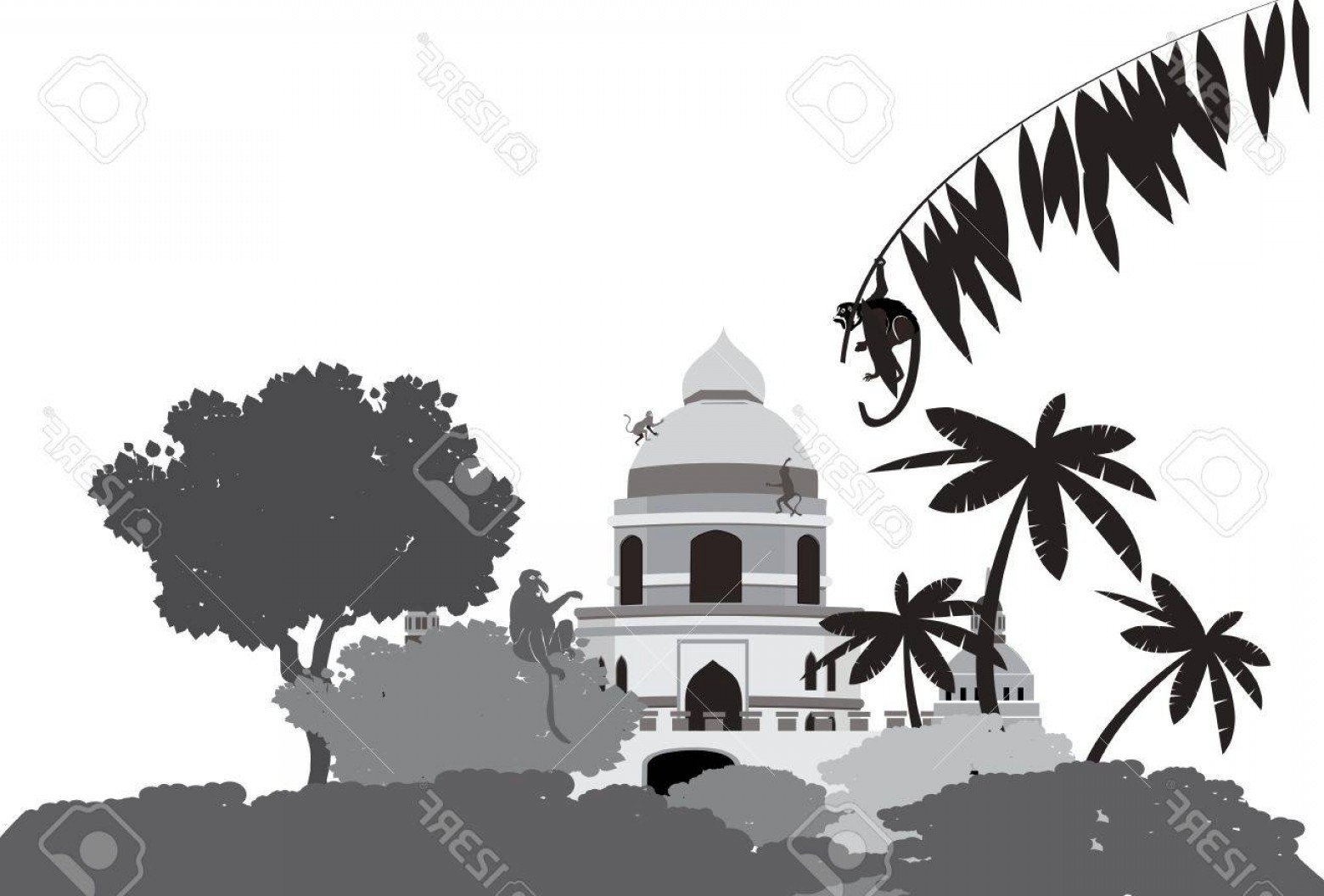 Ancient Jungle Statue Vector Images: Photostock Vector Ancient Temple In The Jungle Vector Illustratration In Grey Colors