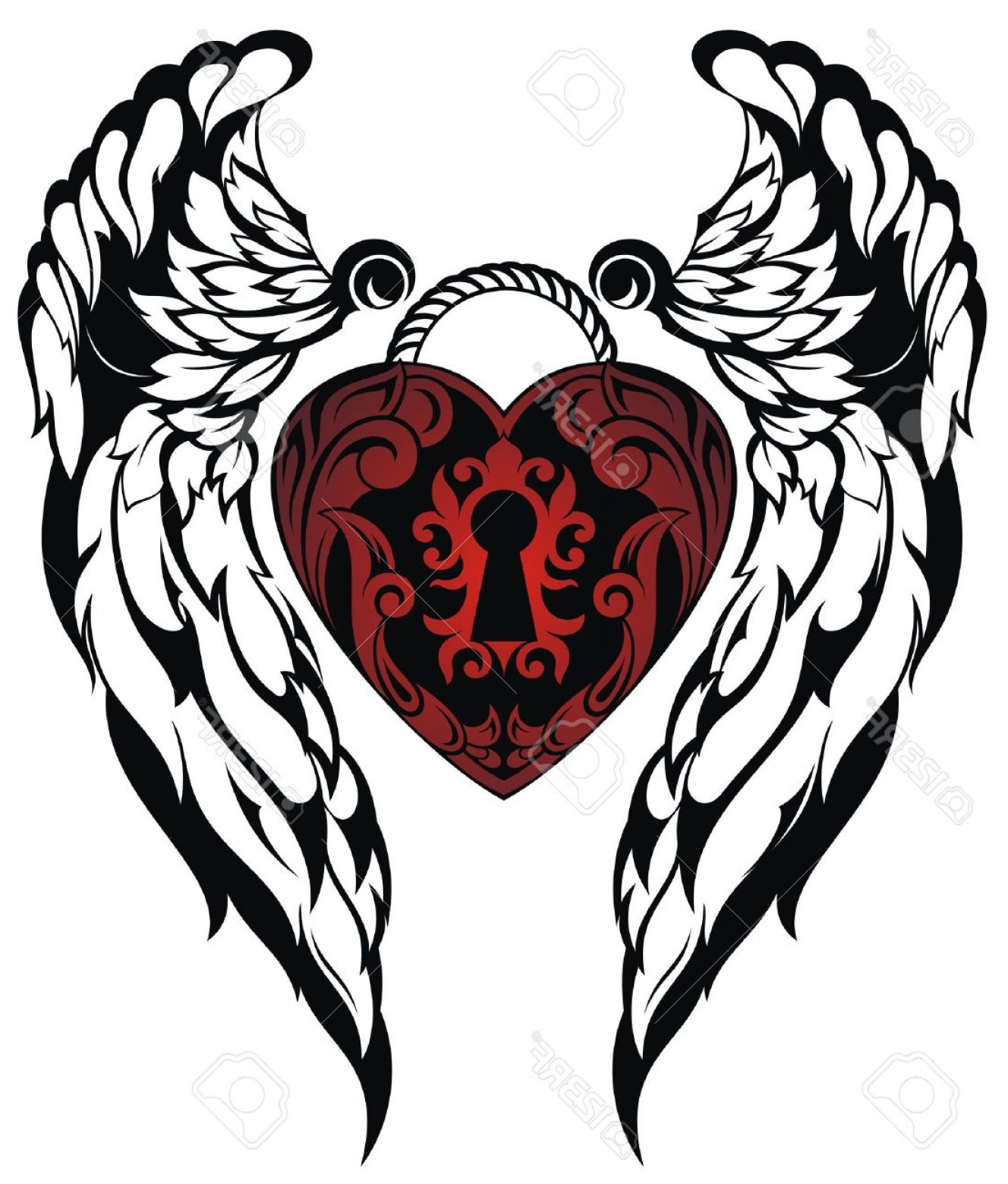 Detroit Red Wings Vector Art: Photostock Vector Angel Wings Love Tattoo