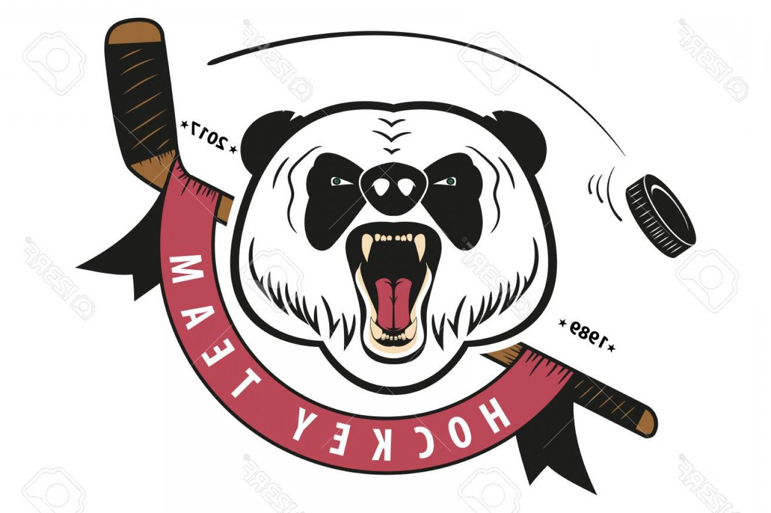 Hockey Teams Logo Vectors: Photostock Vector Angry Panda Hockey Team Logo Mascot Emblem Of A Panda On A White Background Layered Vector Illustrat