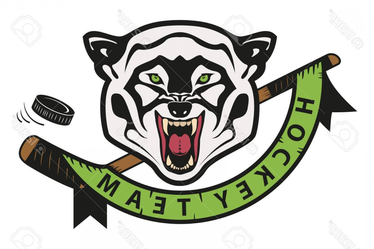Hockey Teams Logo Vectors: Photostock Vector Angry Wolf Hockey Team Logo Mascot Emblem Of A Wolf On A White Background Layered Vector Illustratio
