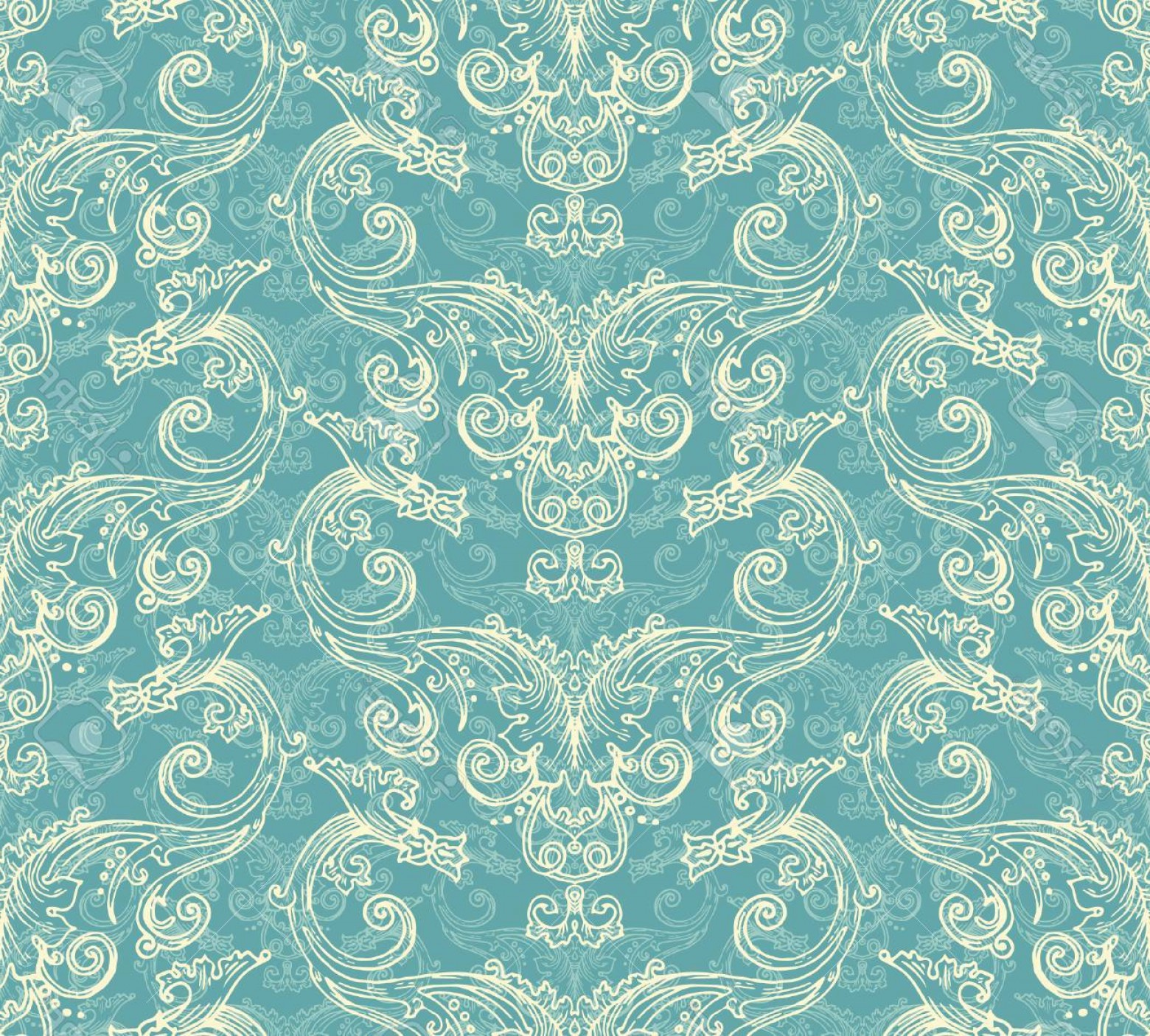 Aqua Victorian Vectors: Photostock Vector Antique Victorian Seamless Pattern