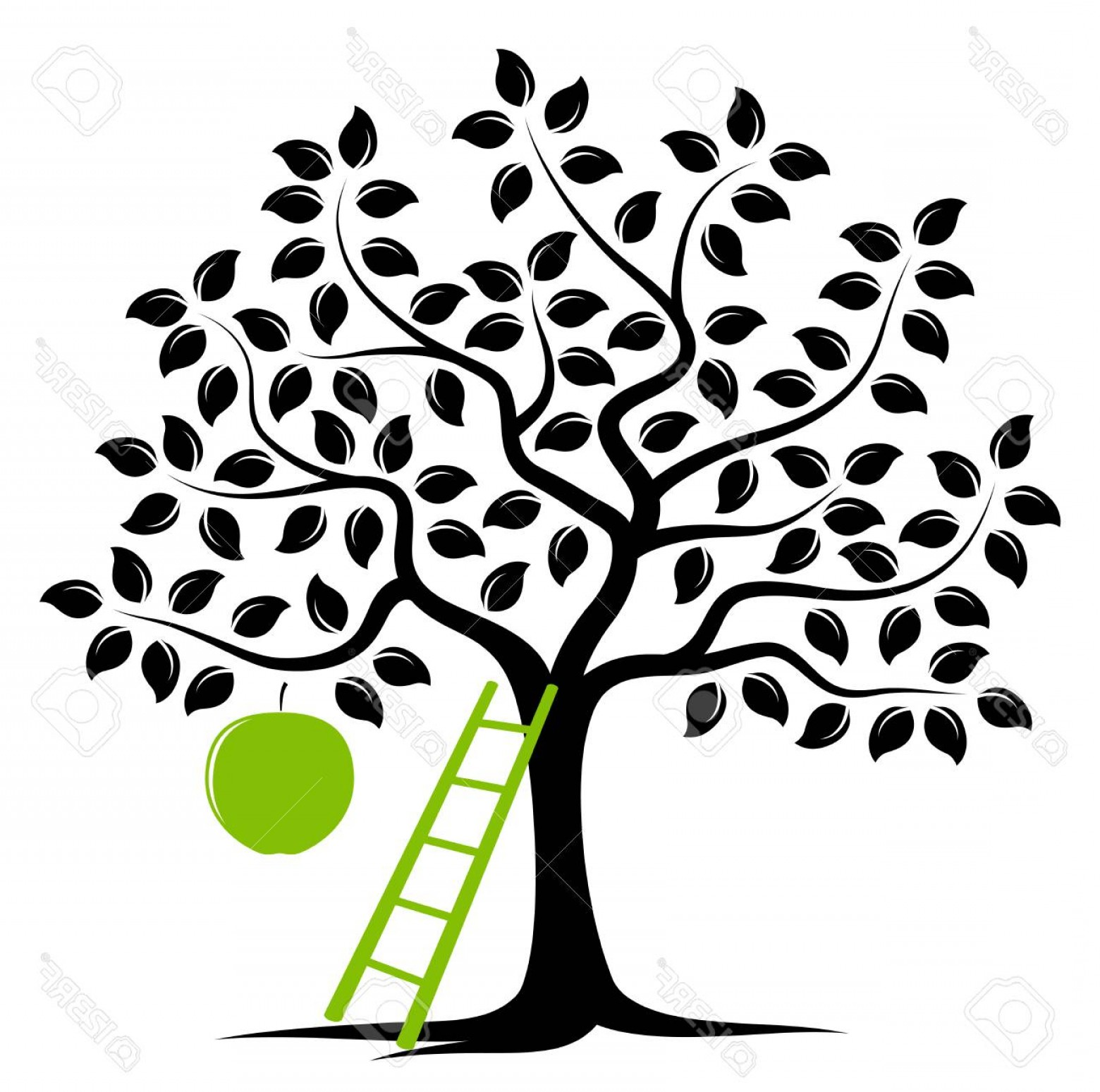 Apple Tree Vector Black: Photostock Vector Apple Tree With One Big Apple And Ladder Isolated On White Background