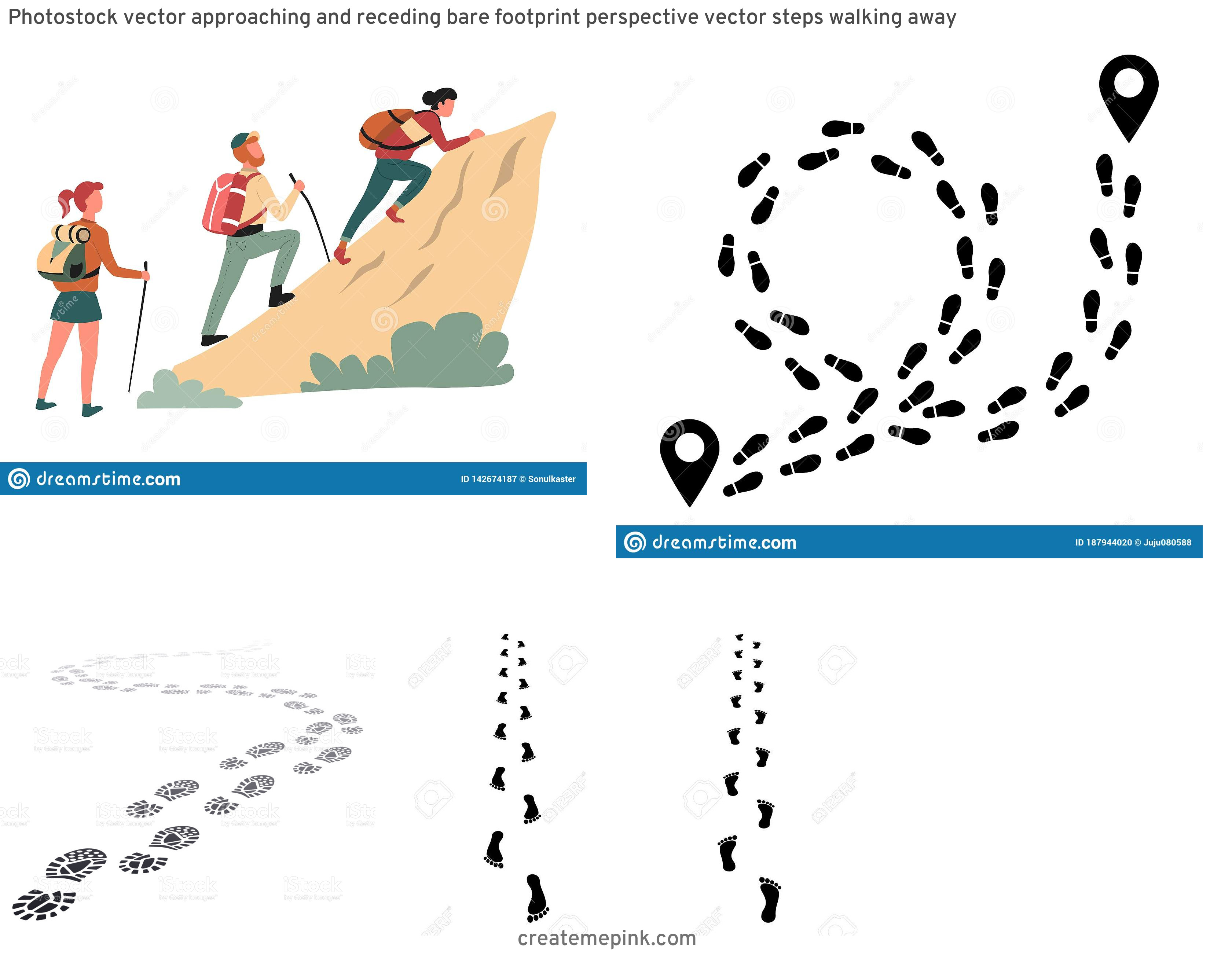 Vector Hiking Steps Walking: Photostock Vector Approaching And Receding Bare Footprint Perspective Vector Steps Walking Away