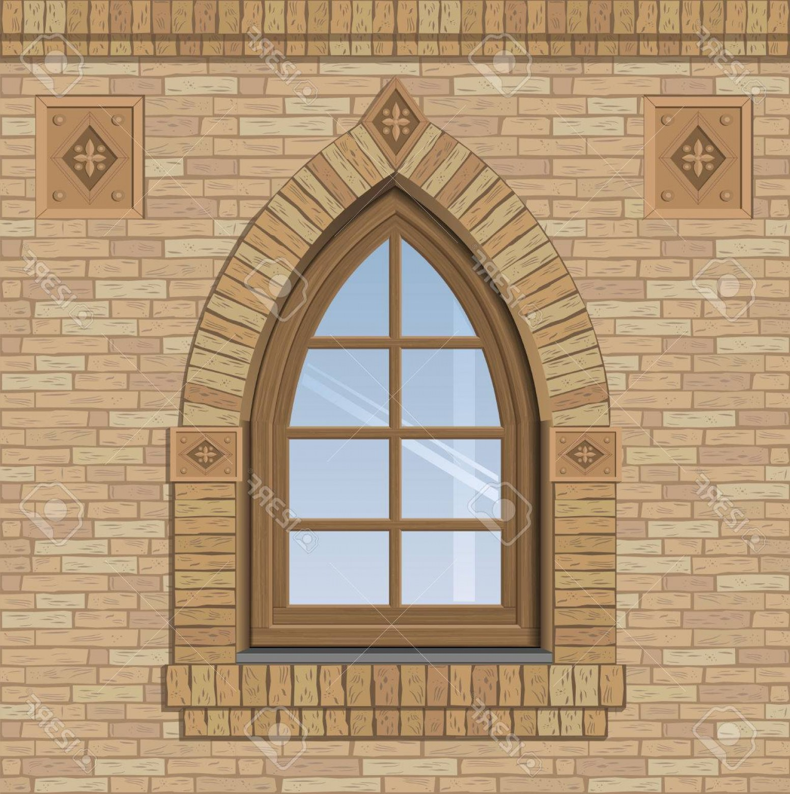 Clay Window Vector: Photostock Vector Arched Antique Window On A Brick Wall The Texture Of The Building Facade Vector Graphics