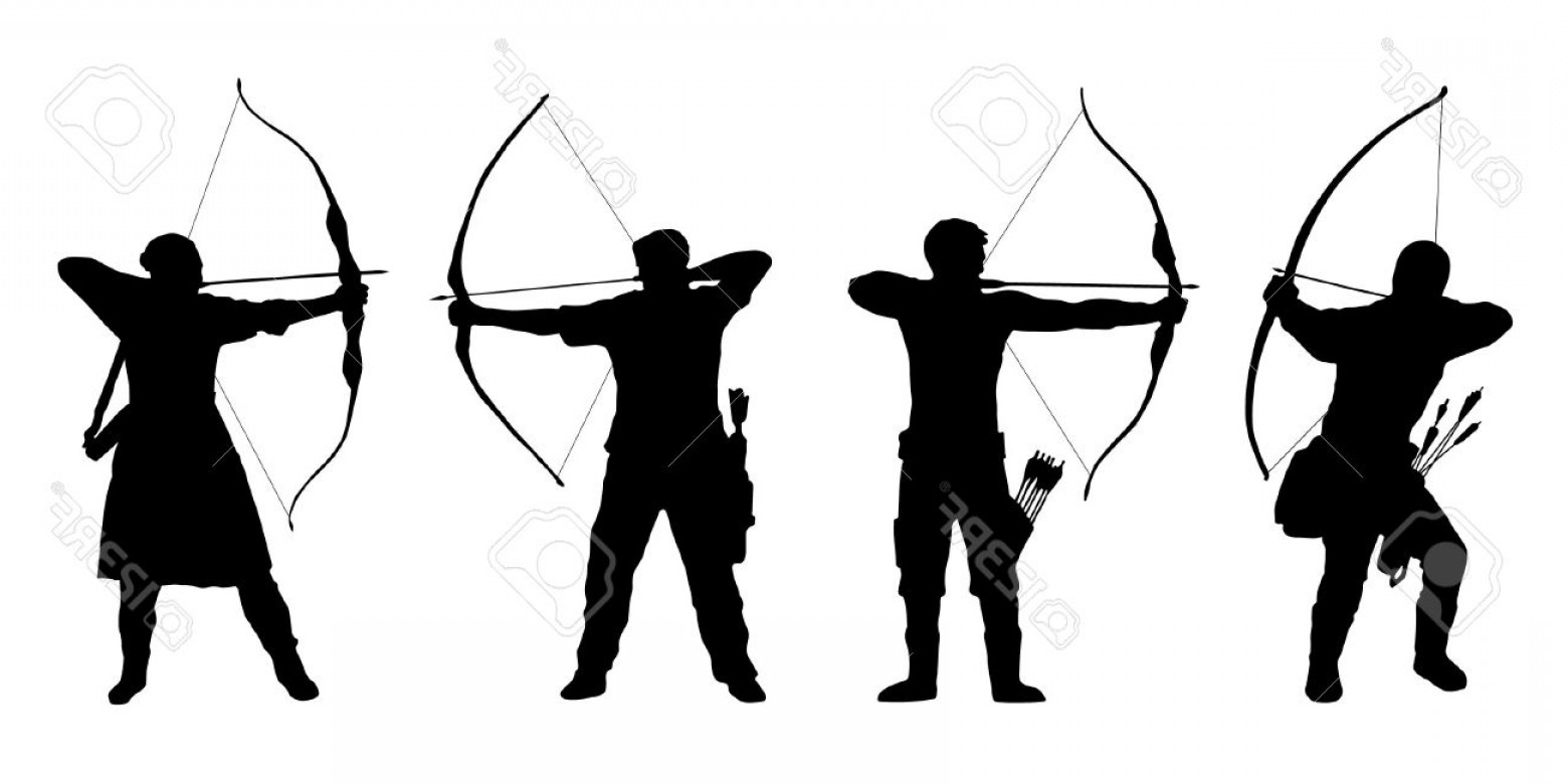 Vector Archery Silhouette: Photostock Vector Archer Silhouettes On The White Background