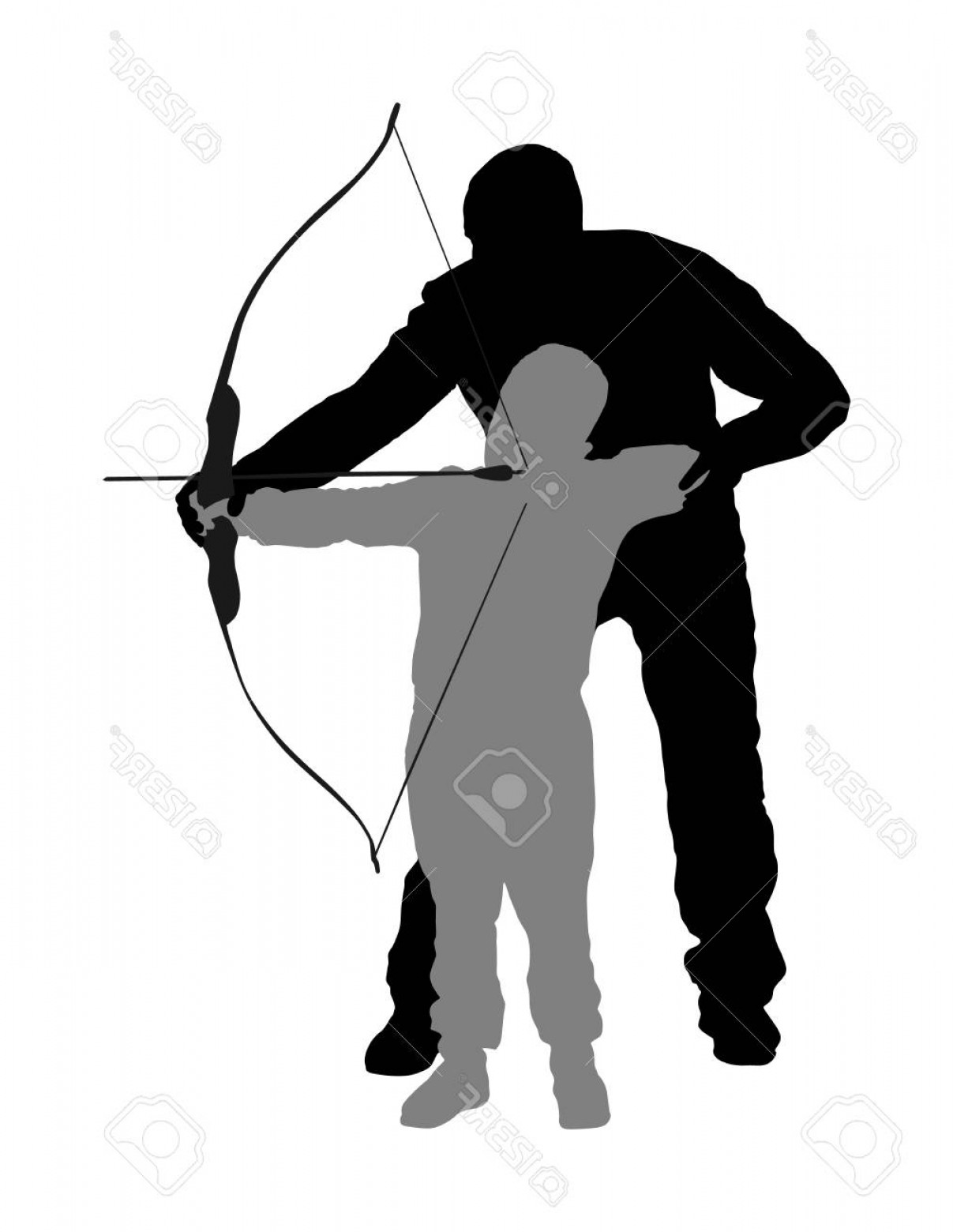 Vector Archery Silhouette: Photostock Vector Archer Vector Silhouette Illustration Isolated On White Background Hunter In Hunting Dad Teaches His