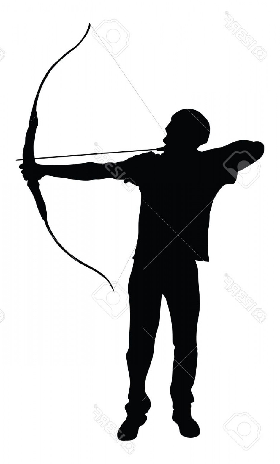 Vector Archery Silhouette: Photostock Vector Archer Vector Silhouette Symbol Illustration Isolated On White Background