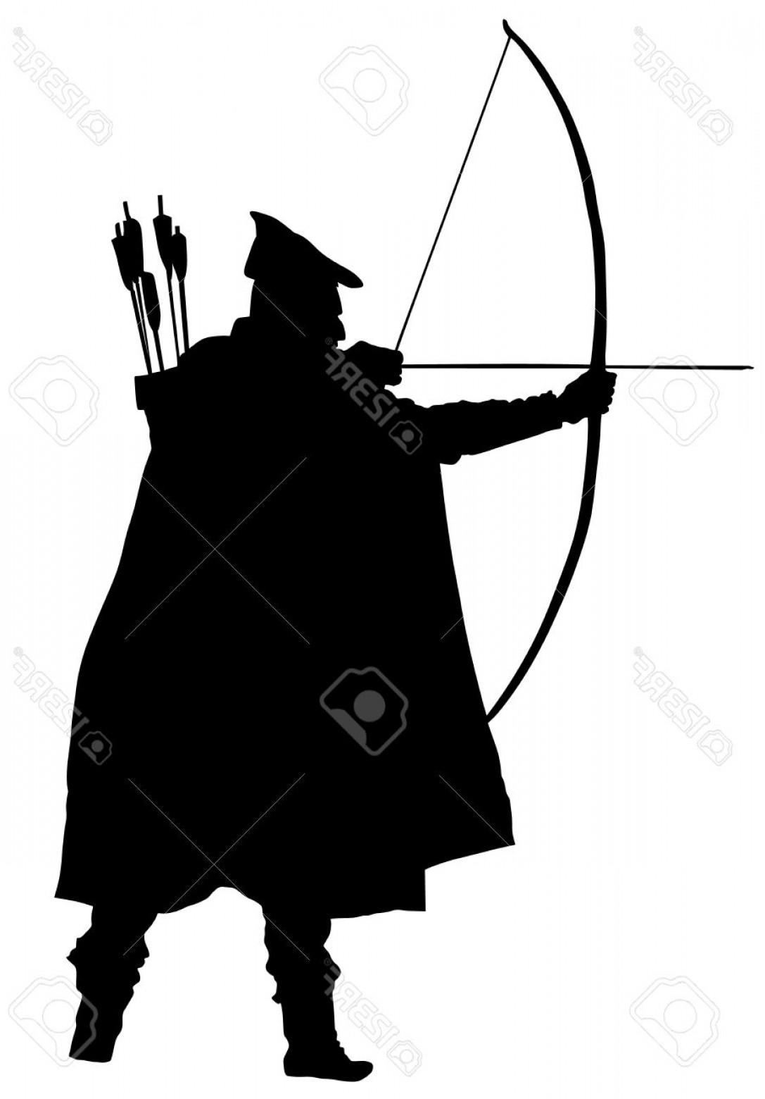 Vector Archery Silhouette: Photostock Vector Archer Vector Silhouettes On The White Background Robin Hood Silhouette Vector