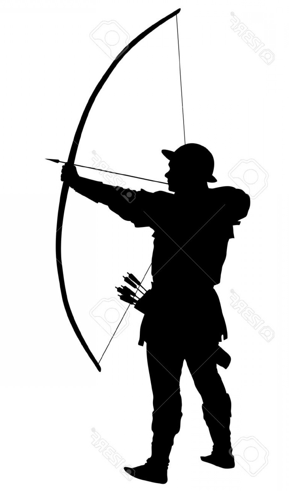 Vector Archery Silhouette: Photostock Vector Archer With Bow And Arrow Detailed Vector Silhouette