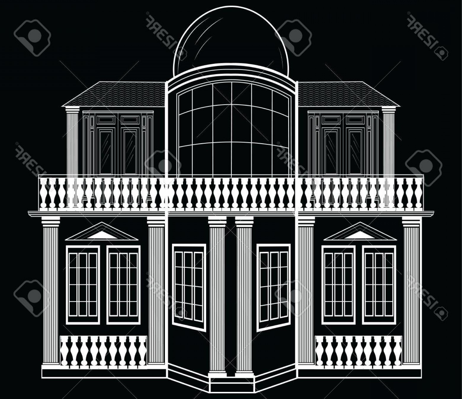 Residential Blueprint Vector Black: Photostock Vector Architectural Facade Vector Wire Frame Blueprint Drawing Of Classic Building Vector Architectural Te