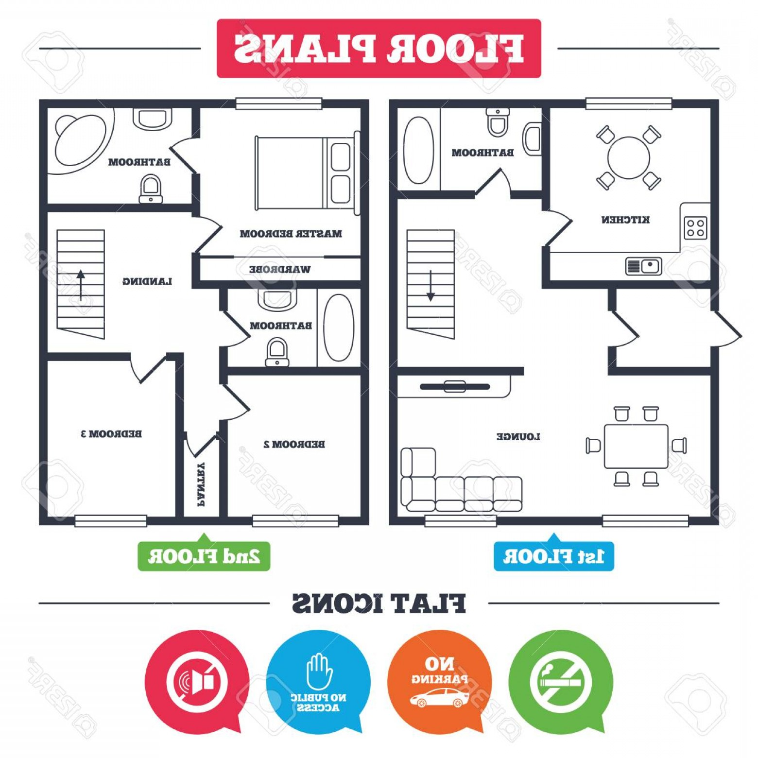 Public Floor Plan Vector: Photostock Vector Architecture Plan With Furniture House Floor Plan Stop Smoking And No Sound Signs Private Territory