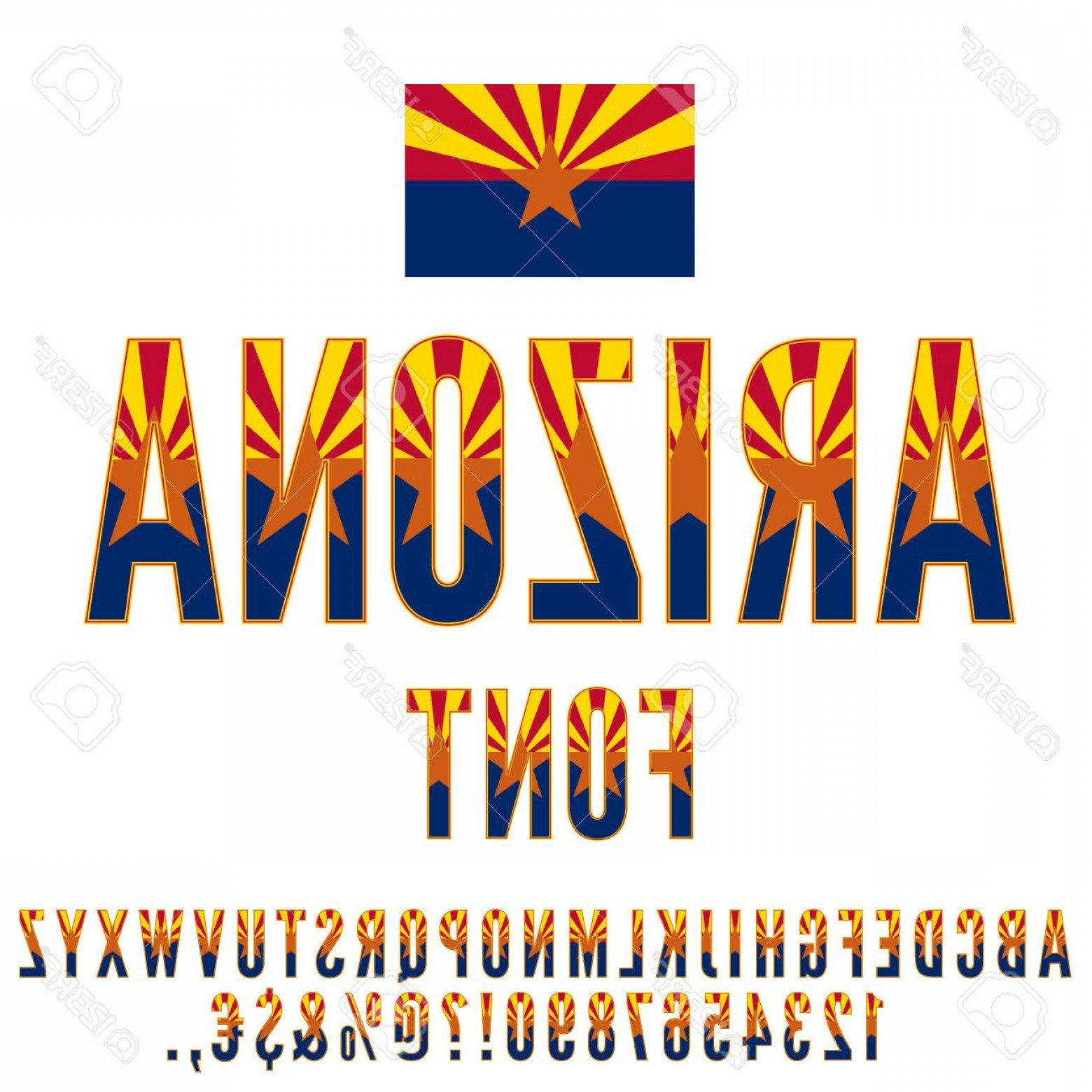 Arizona Flag Vector: Photostock Vector Arizona Usa State Flag Font Alphabet Numbers And Symbols Stylized By State Flag Vector Typeset