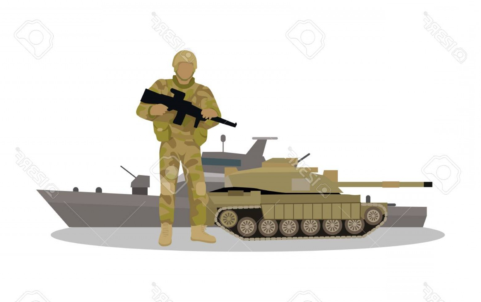 Scale Forces And Vectors: Photostock Vector Armed Forces Vector Concept In Flat Design