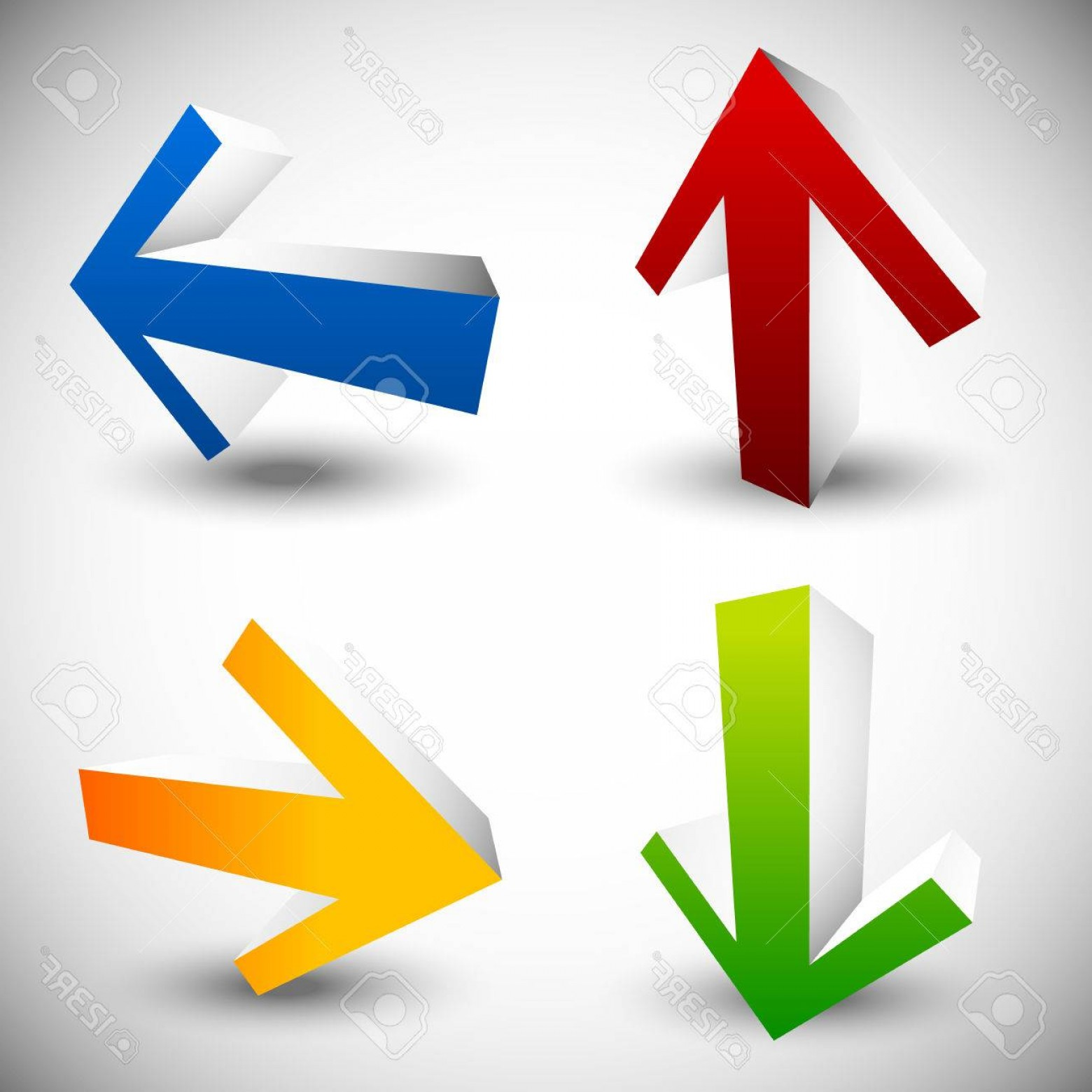 Up And Right Arrows Vector: Photostock Vector Arrow Icons In Directions Up Down Left Right Arrows