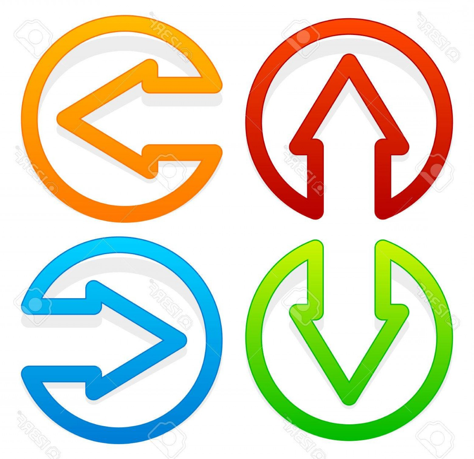 Up And Right Arrows Vector: Photostock Vector Arrow Icons Pointing Left Right Up And Down