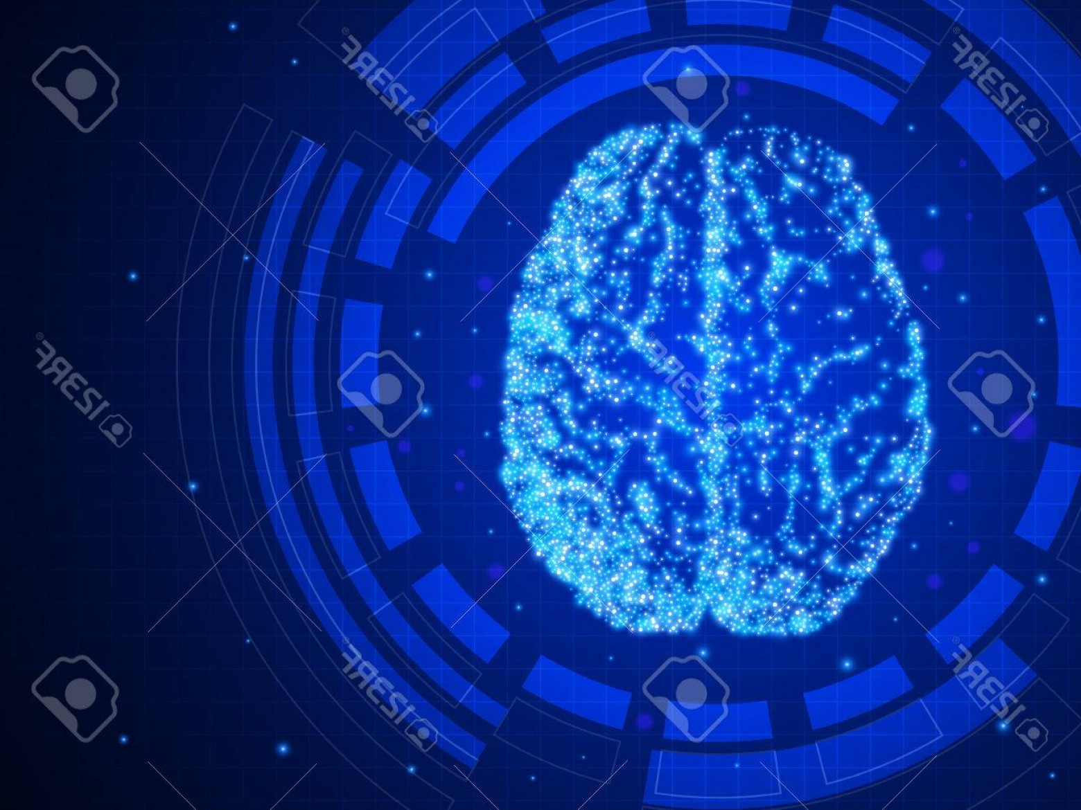 Blue Technology Vector Illustration: Photostock Vector Artificial Intelligence Blue Technology Background Abstract Human Brain Vector Illustration Eps