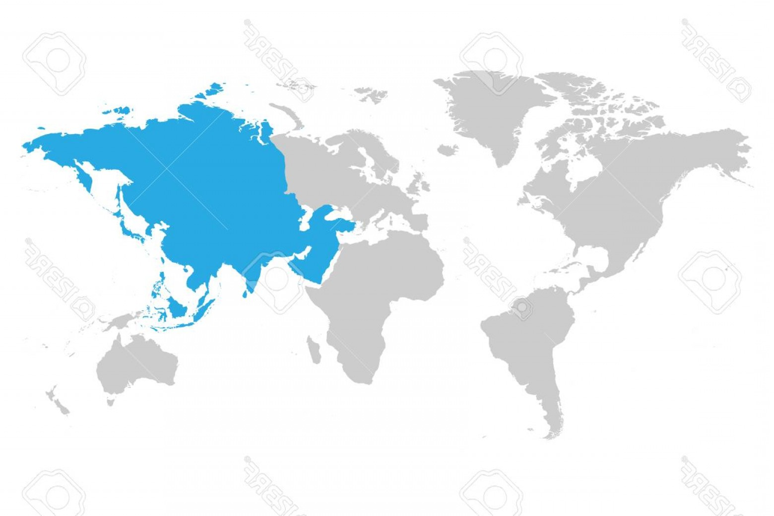 Asia Continent Map Vector: Photostock Vector Asia Continent Blue Marked In Gray Silhouette Of World Map Simple Flat Vector Illustration