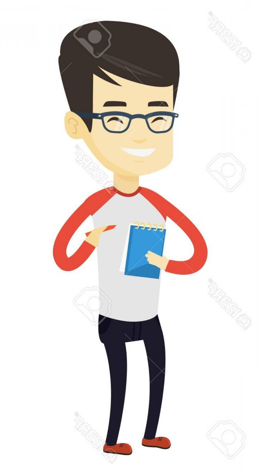 Notepad Writing Hand Vector: Photostock Vector Asian Journalist Writing Notes In Notepad Young Journalist Writing In Notebook With Pencil Smiling J