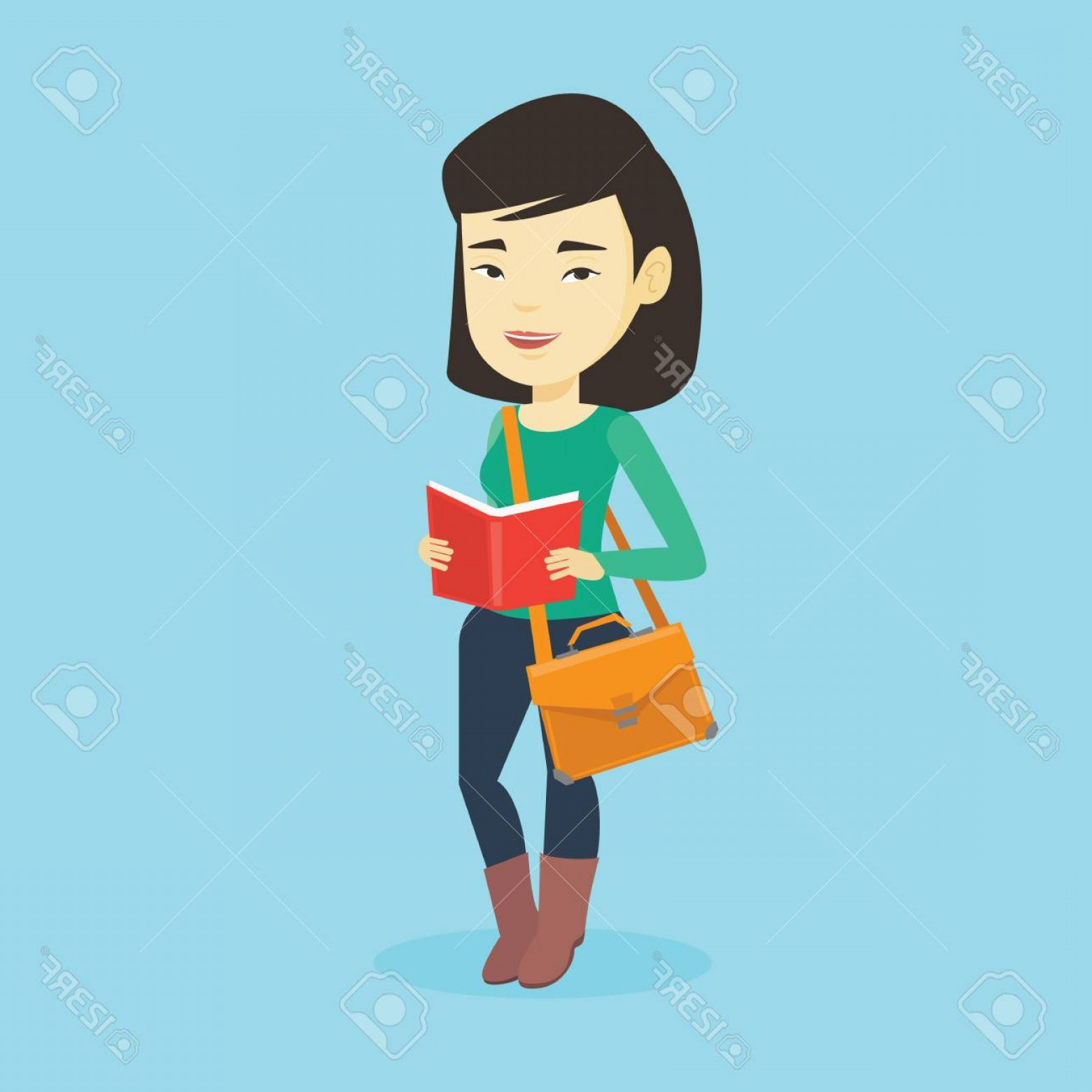 Asian Student Vector: Photostock Vector Asian Student Reading A Book Happy Student Reading A Book And Preparing For Exam Excited Student Sta