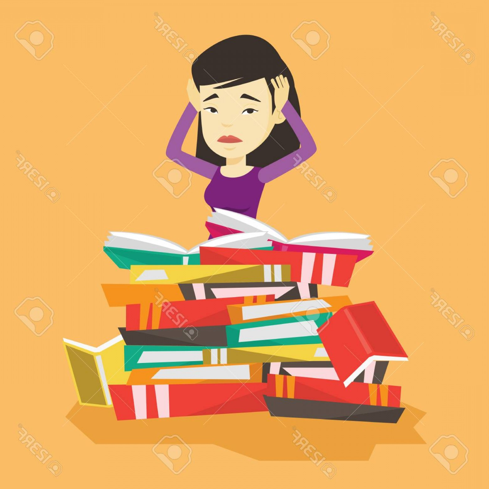 Asian Student Vector: Photostock Vector Asian Student Sitting In Huge Pile Of Books Exhausted Student Preparing For Exam With Books Stressed