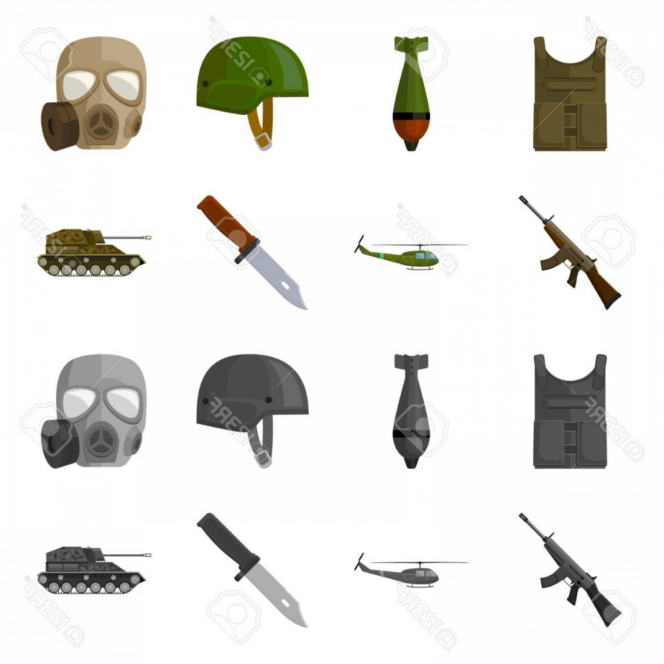 Blackhawk Vector MedVac: Photostock Vector Assault Rifle M Helicopter Tank Combat Knife Military And Army Set Collection Icons In Cartoon Mon