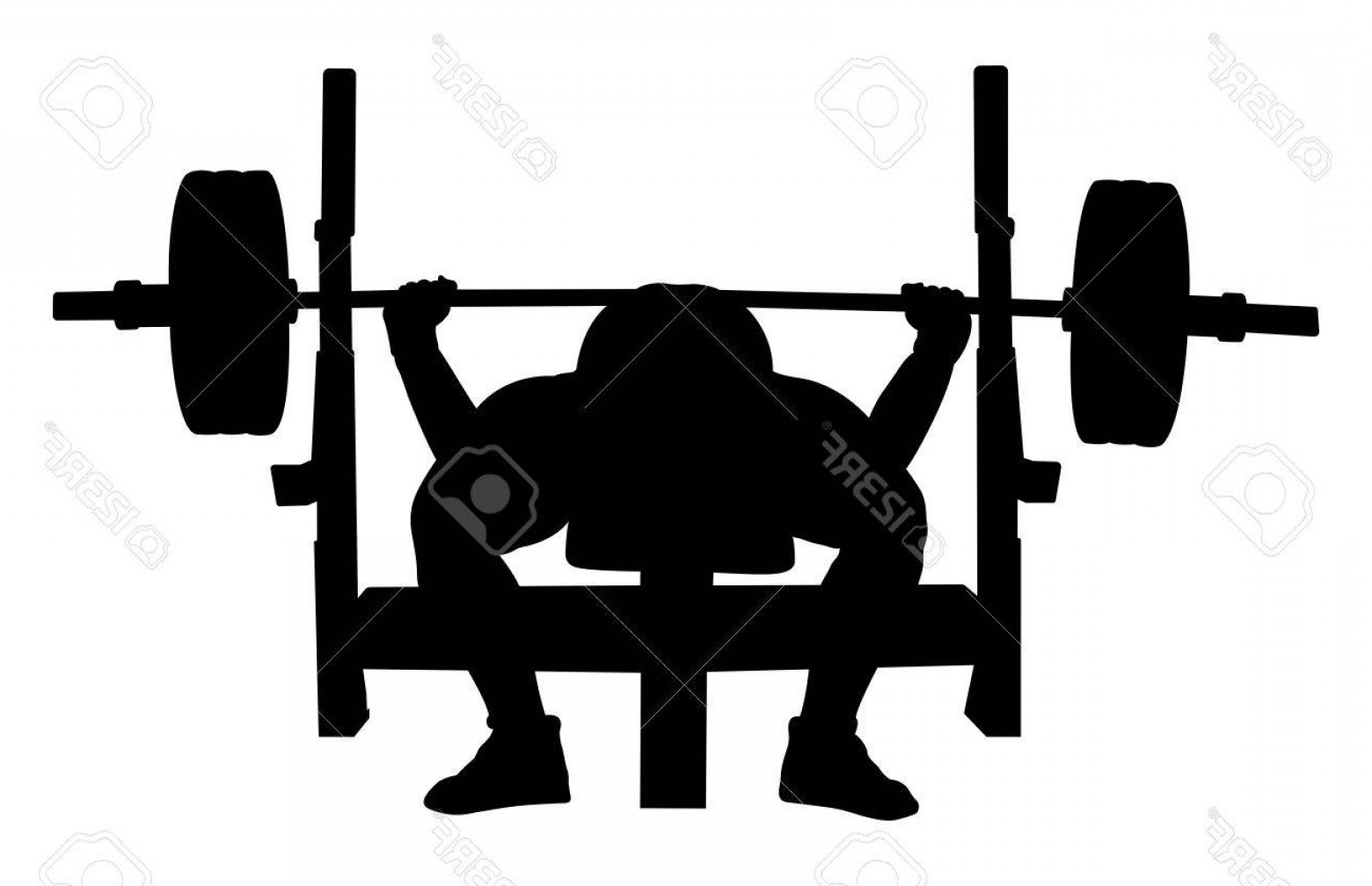 Vector Barbell Press: Photostock Vector Athlete Powerlifter Bench Press Black Silhouette
