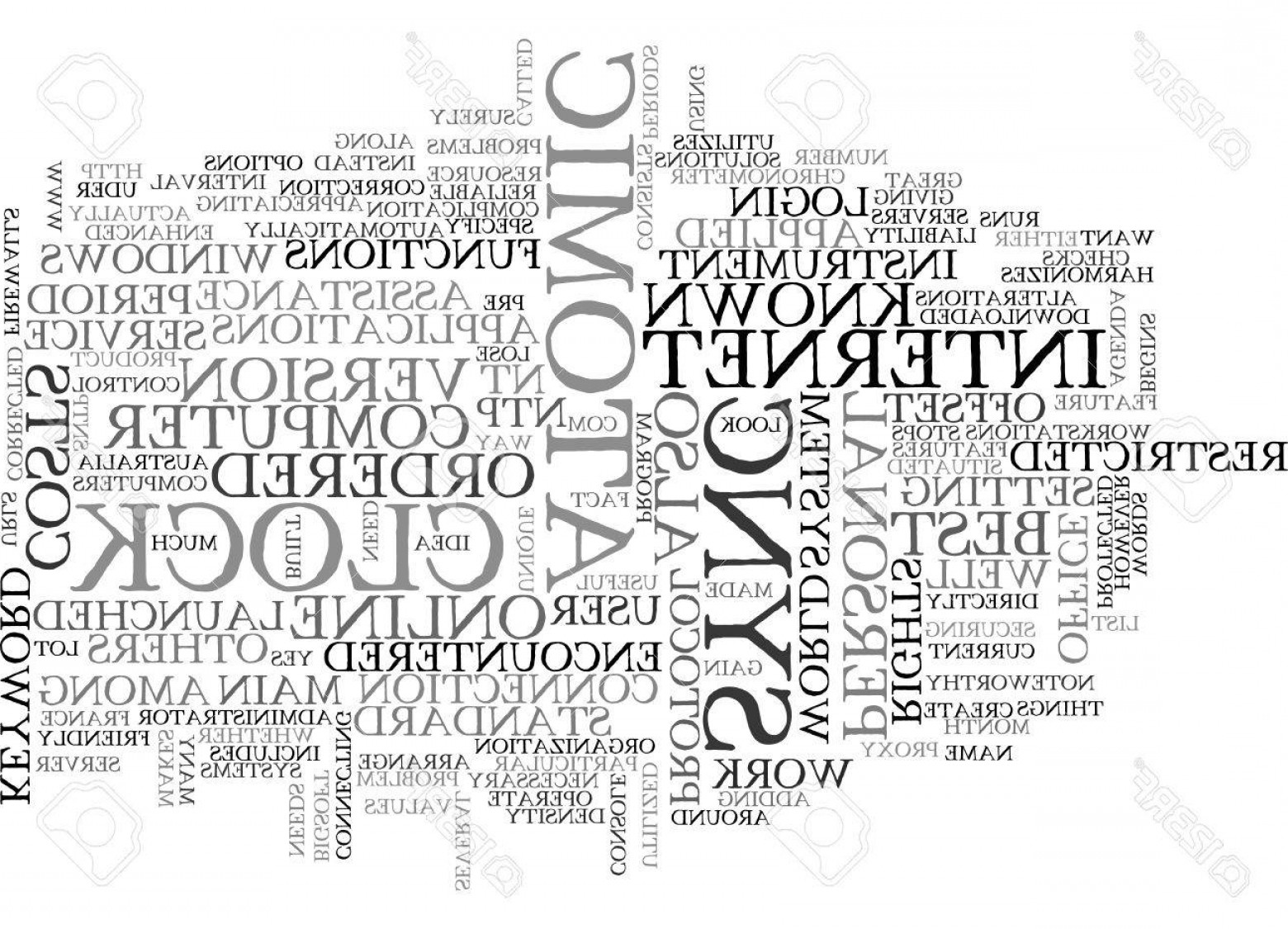 Atomic Vector Coud: Photostock Vector Atomic Clock Sync Text Word Cloud Concept