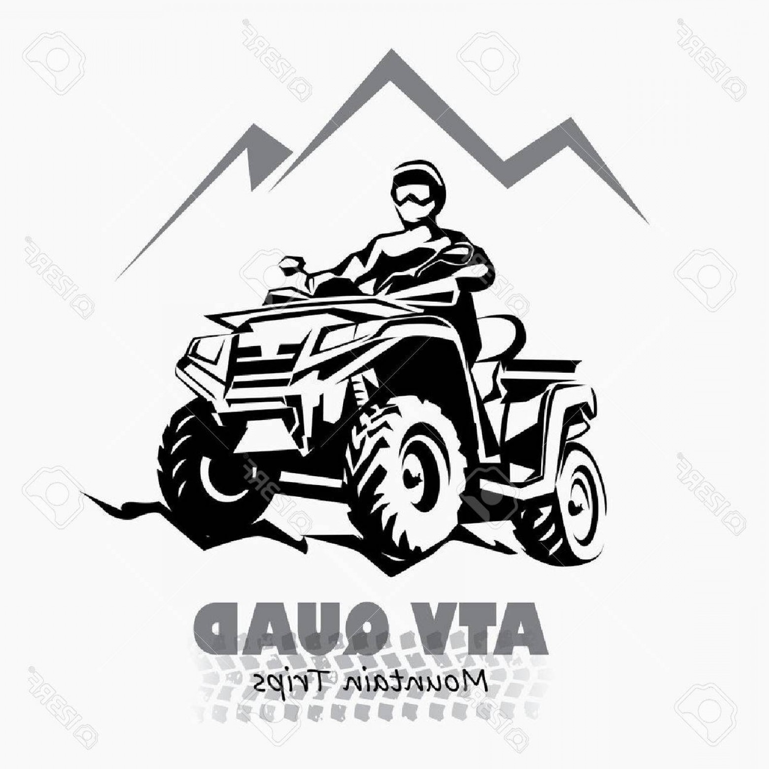 ATV Vector Clip Art: Photostock Vector Atv Quad Bike Stylized Silhouette Vector Symbol Design Element For Emblem