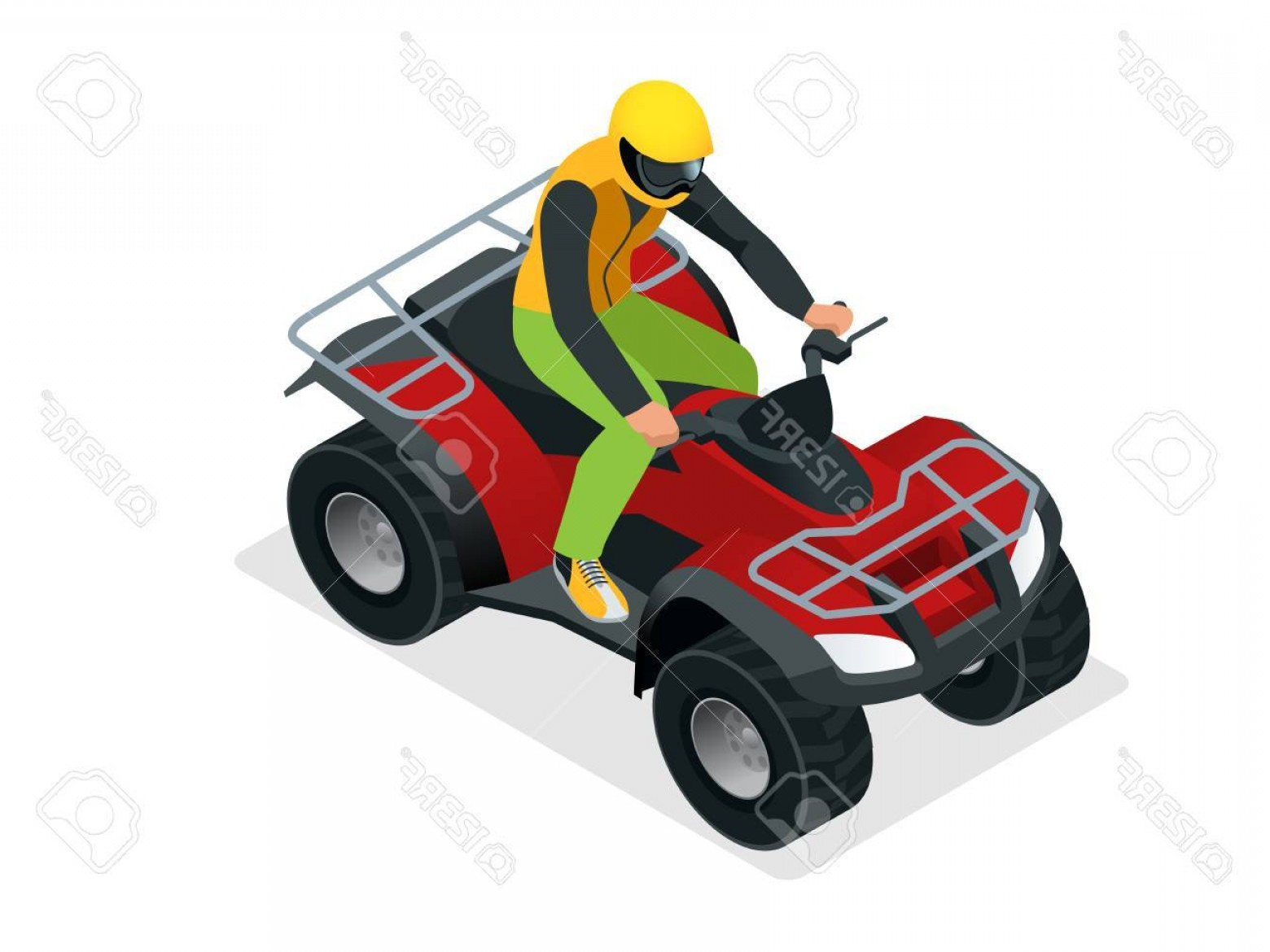 ATV Rider Vector: Photostock Vector Atv Rider In The Action Quad Bike Atv Isometric Vector Illustration Motocross Bike Icon