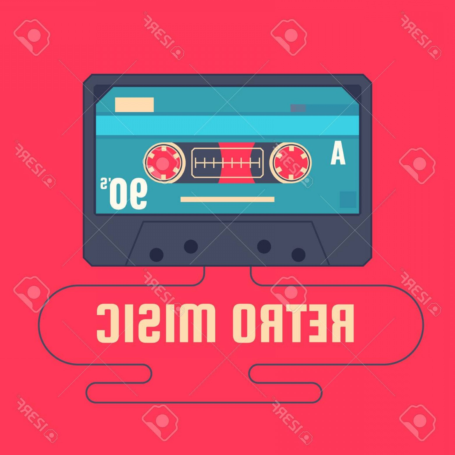 Audio Cassette Vector: Photostock Vector Audio Cassette On Red Background Retro Music S Vector Illustration