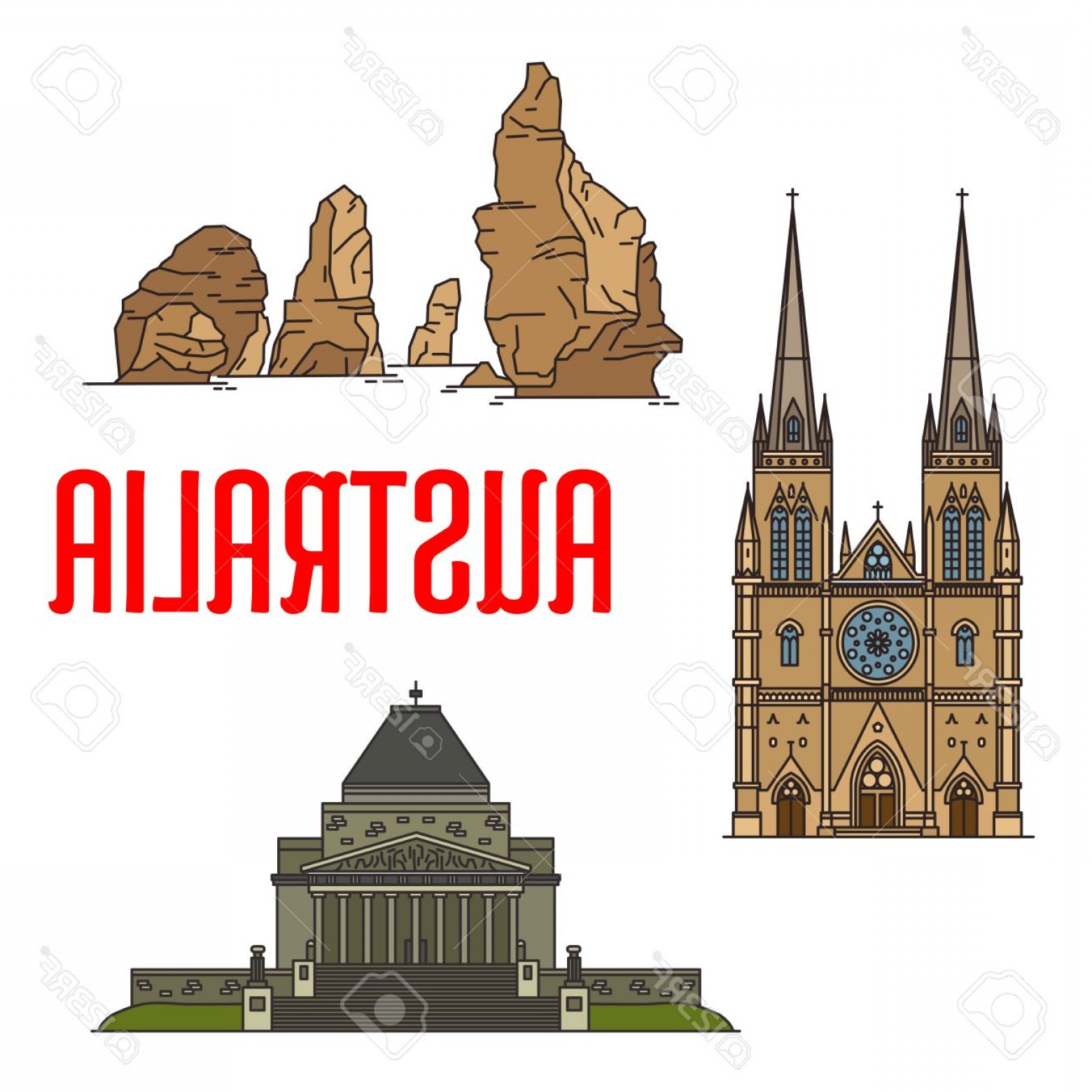 Salt Lake City Temple Vector: Photostock Vector Australian Buildings And Landmarks Icons Vector St Mary Cathedral Twelve Apostles Rocks Shrine Of Re