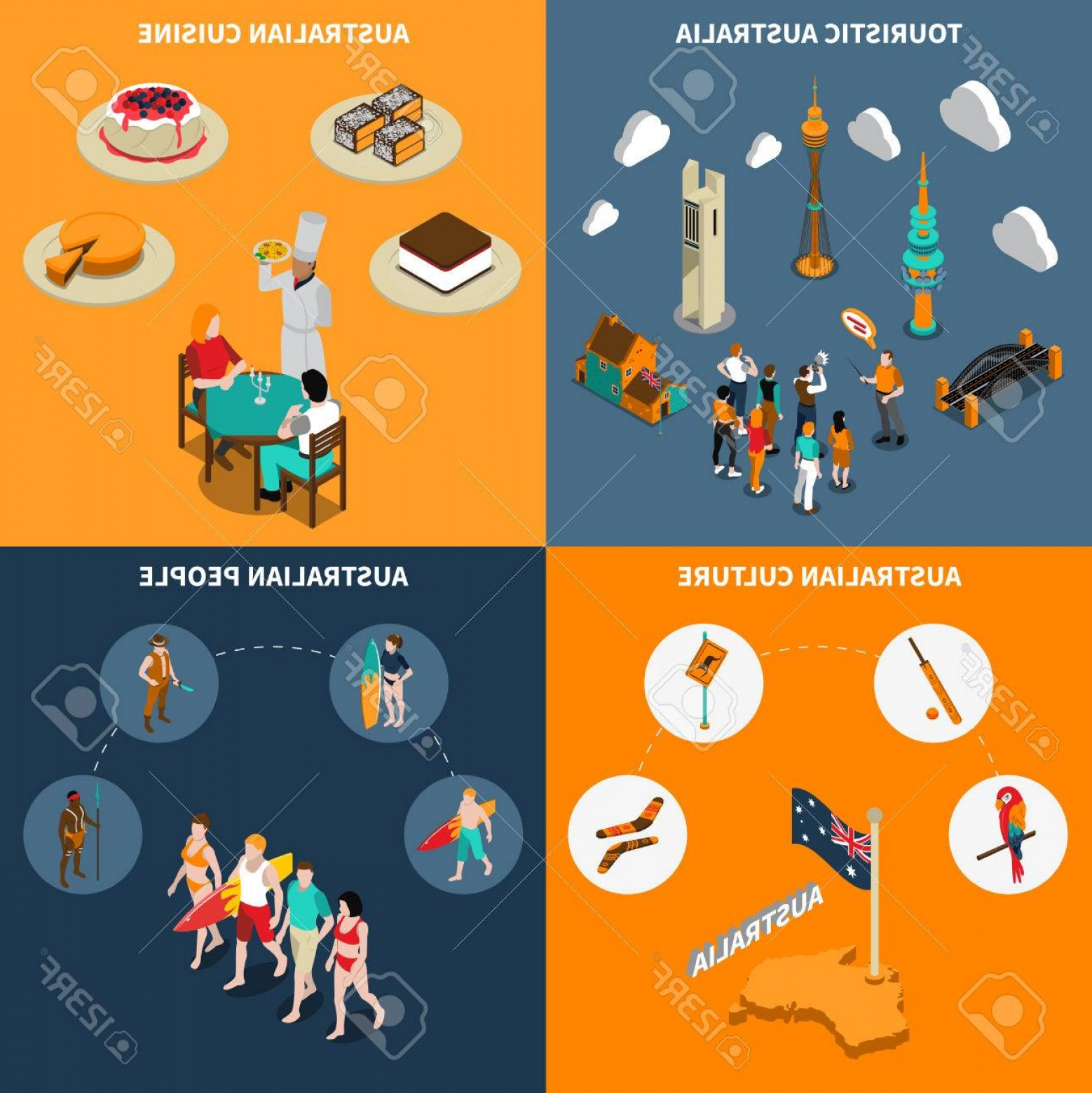 Australia Australia Tour Vector: Photostock Vector Australian Culture For Travelers Isometric Icons Square Poster With Guided City Tours And Cuisine