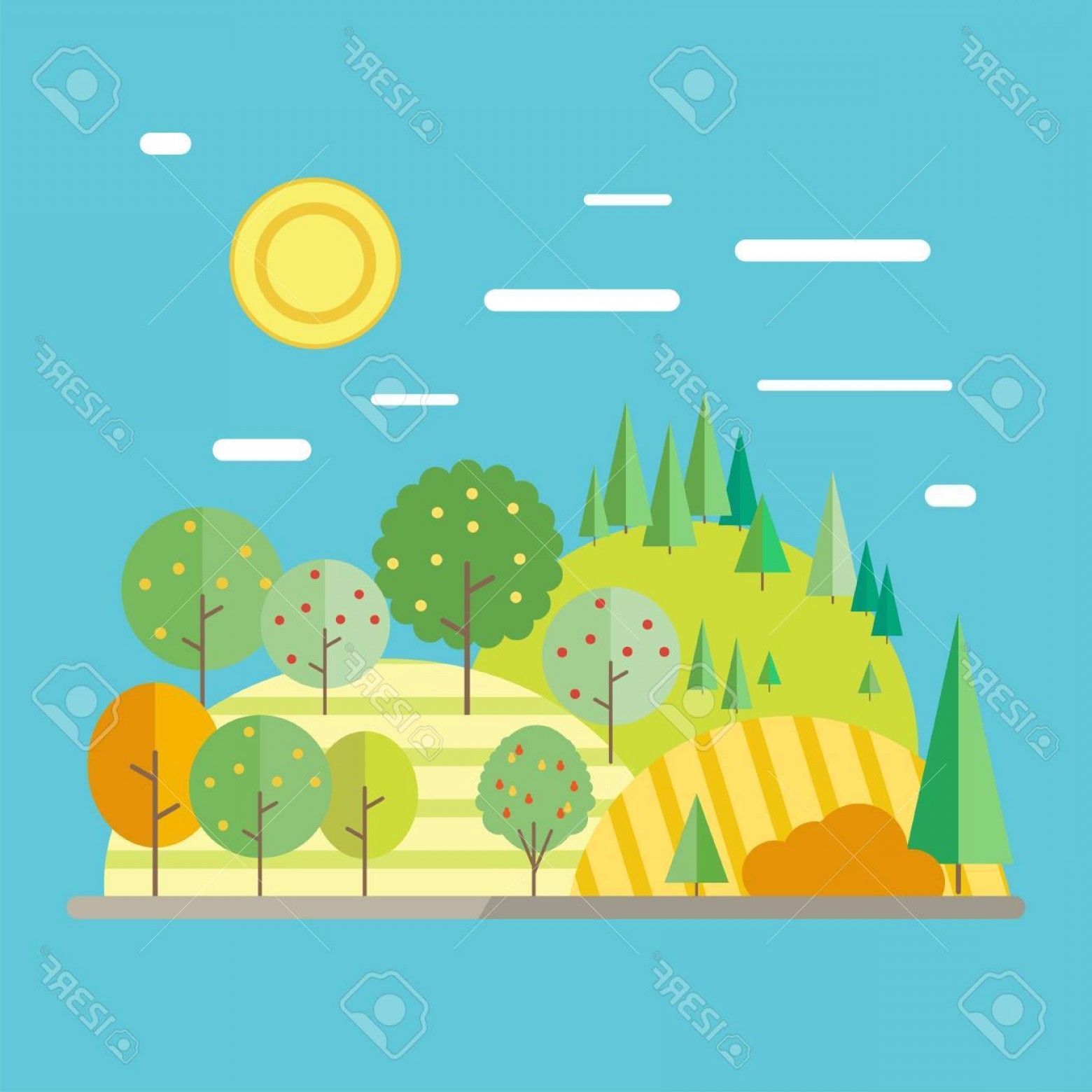 Flat Vector Art And Abstract Forest: Photostock Vector Autumn Landscape In Flat Style Abstract Forest Fruit Trees And Field
