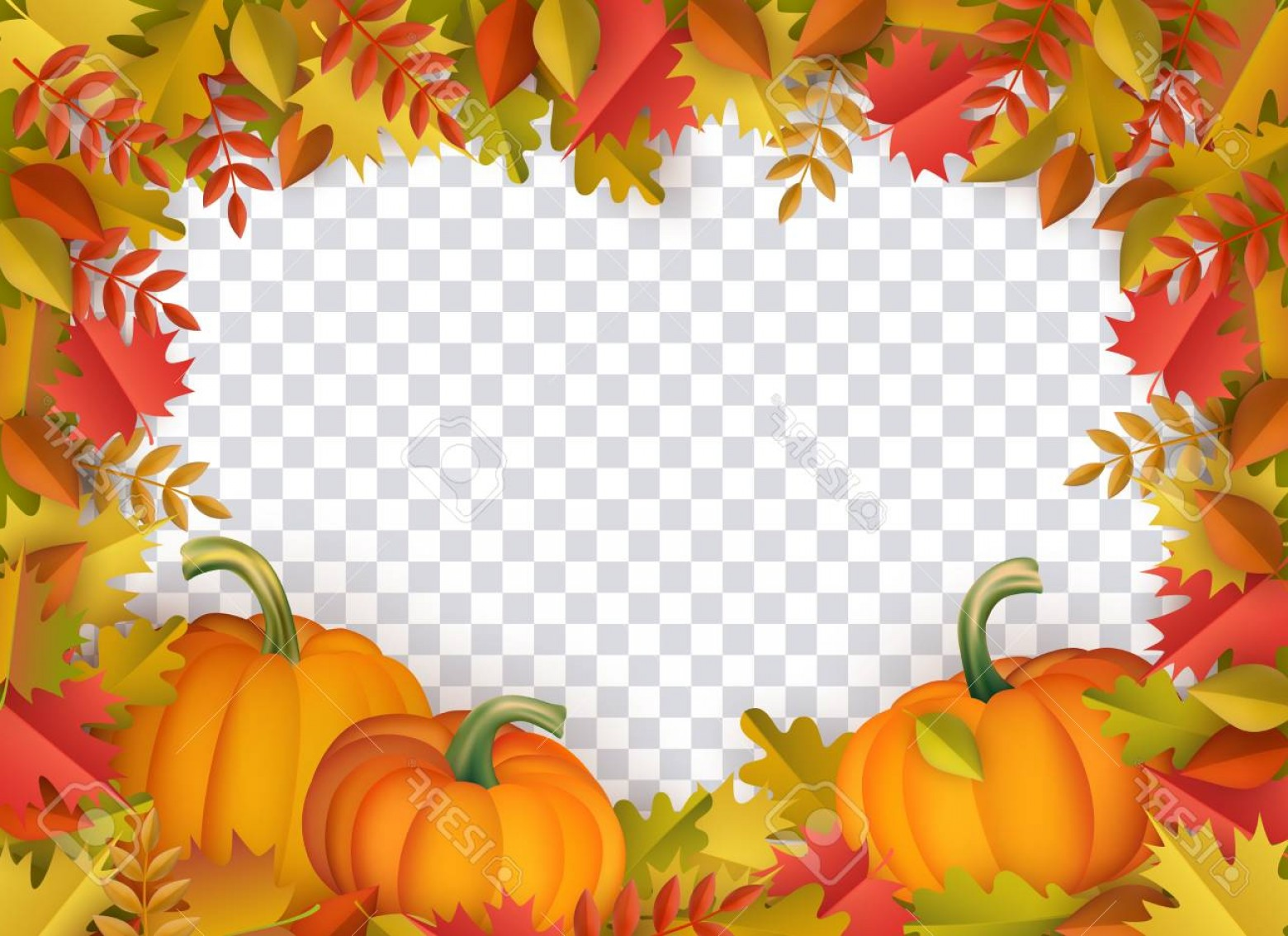 Thanksgiving Border Vector: Photostock Vector Autumn Leaves And Pumpkins Border Frame With Space Text On Transparent Background Seasonal Floral Ma