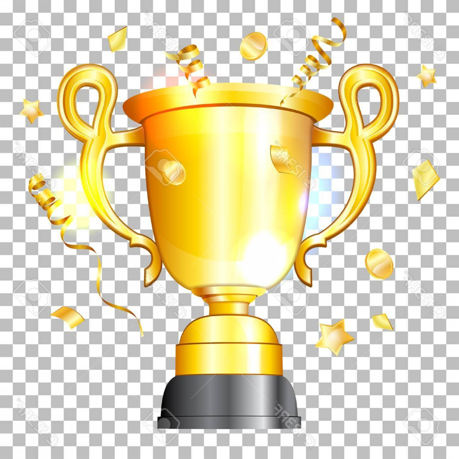 3D Vector Award Winner: Photostock Vector Award Winner Concept Gold Trophy In Realistic D Style With Streamers And Confetti On Transparent Ba
