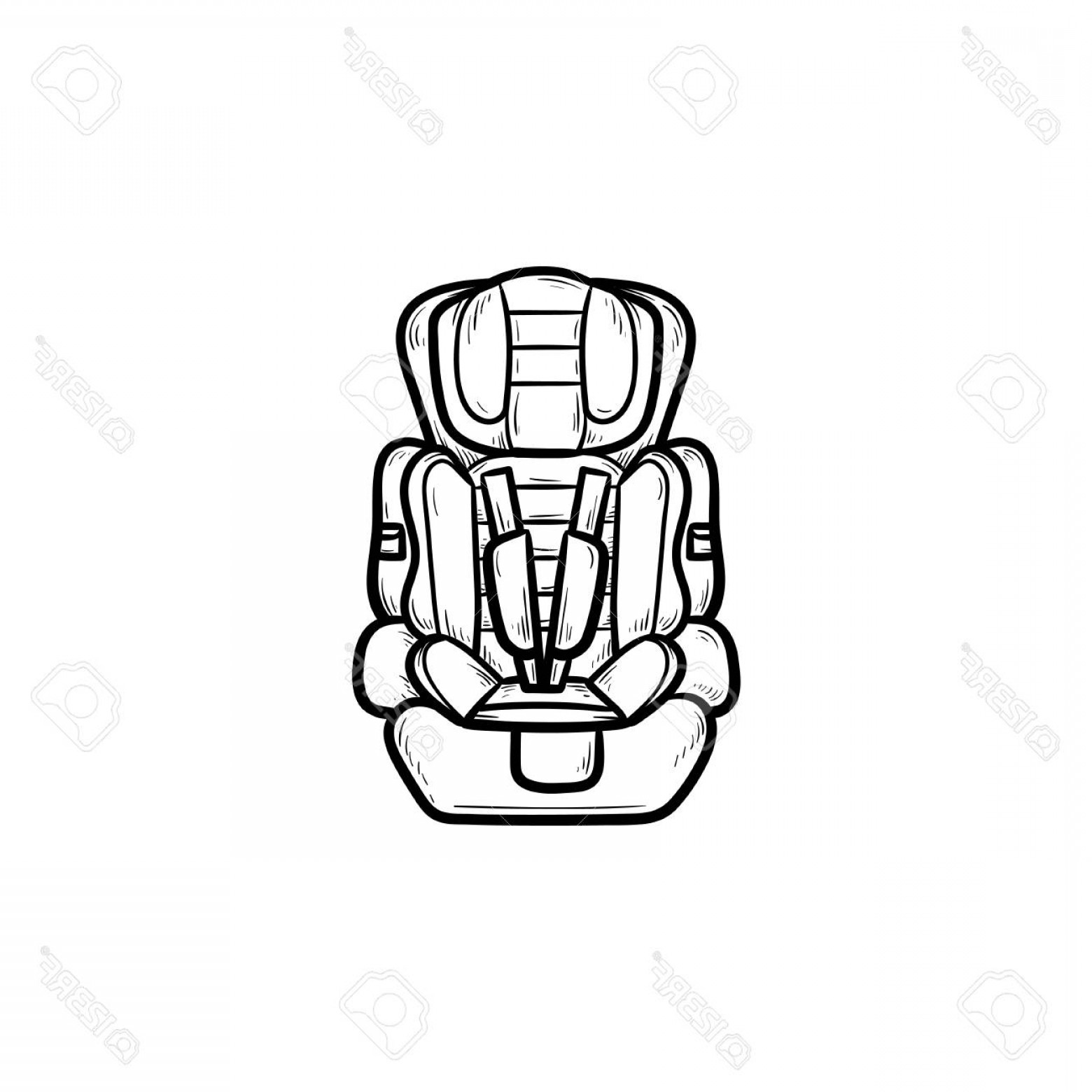 Vector Baby Seat: Photostock Vector Baby Car Seat Hand Drawn Outline Doodle Icon Child Safety And Transportation Protect Kid Trip Concep