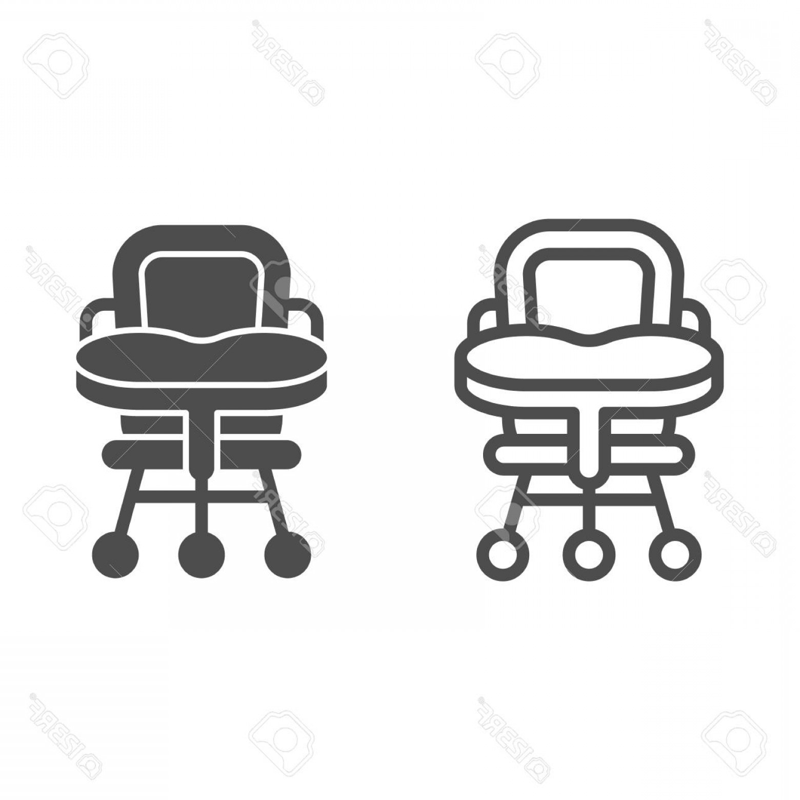 Vector Baby Seat: Photostock Vector Baby Chair Line And Glyph Icon High Chair Vector Illustration Isolated On White Kid Seat Outline Sty