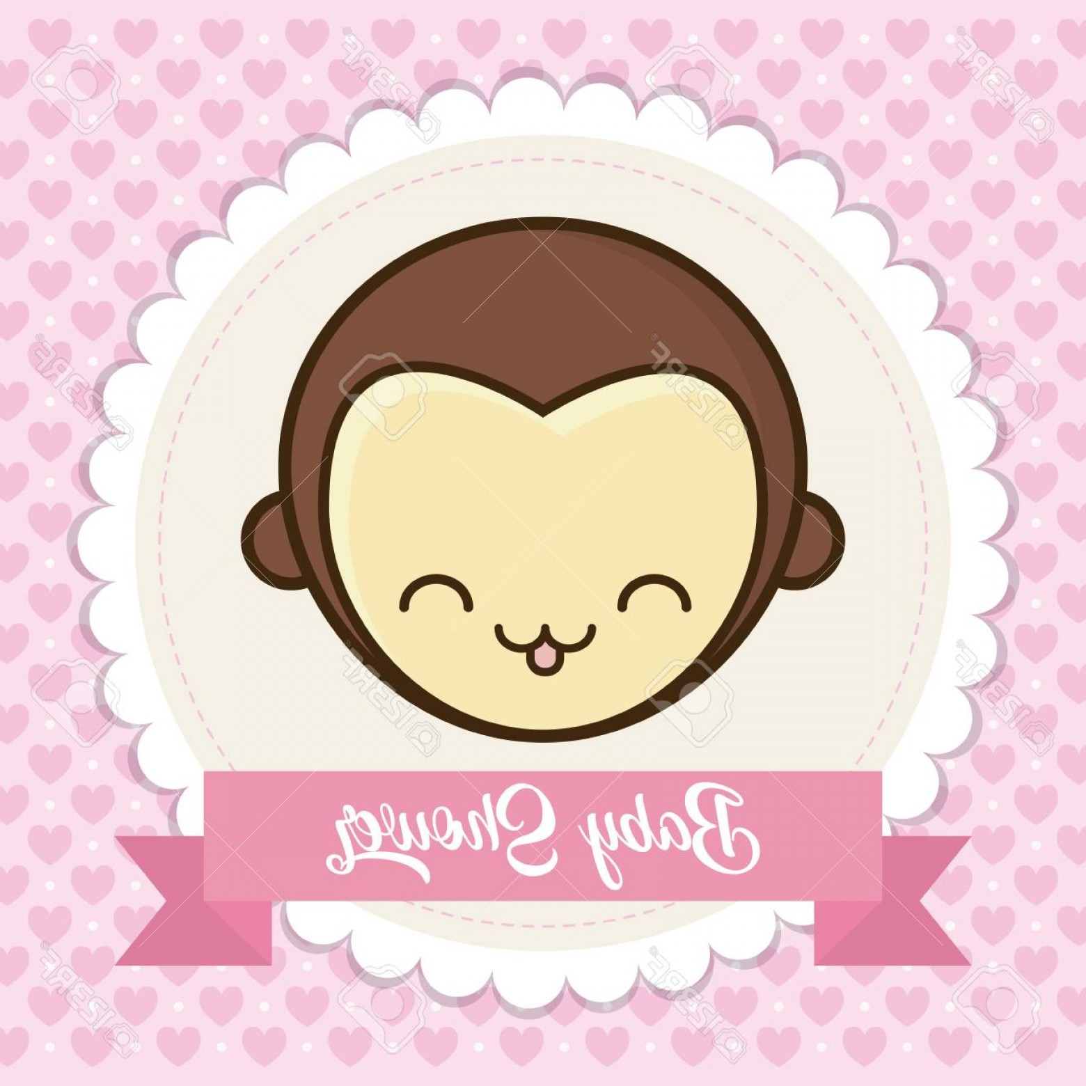 Sitting Monkey Vector Baby Shower: Photostock Vector Baby Shower Card With Cute Monkey Icon Over Pink Background Colorful Design Vector Illustration