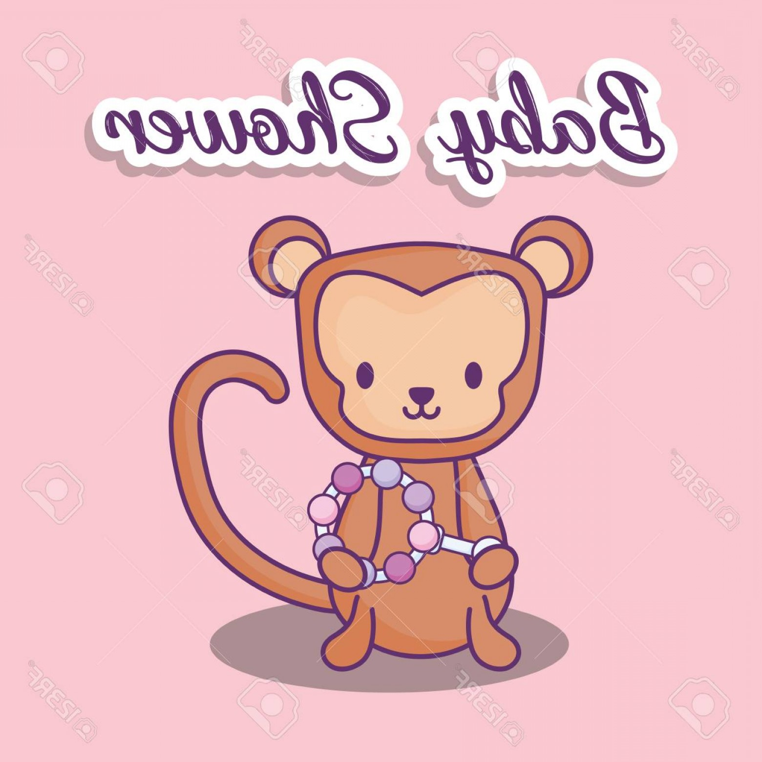 Sitting Monkey Vector Baby Shower: Photostock Vector Baby Shower Design With Cute Monkey Over Pink Background Colorful Design Vector Illustration