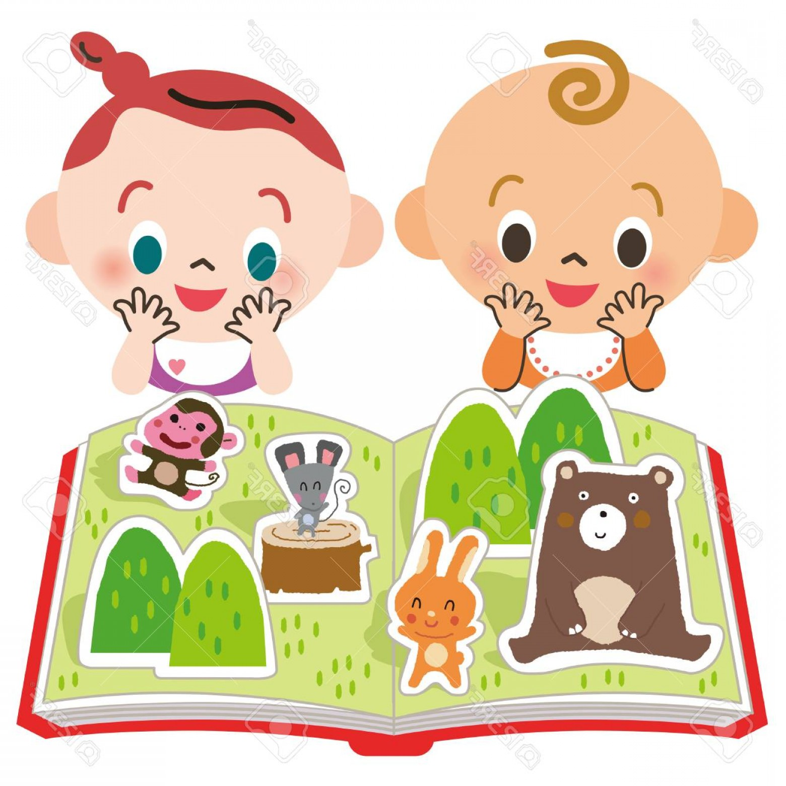 Vector Baby Book: Photostock Vector Baby To See A Protruding Picture Book